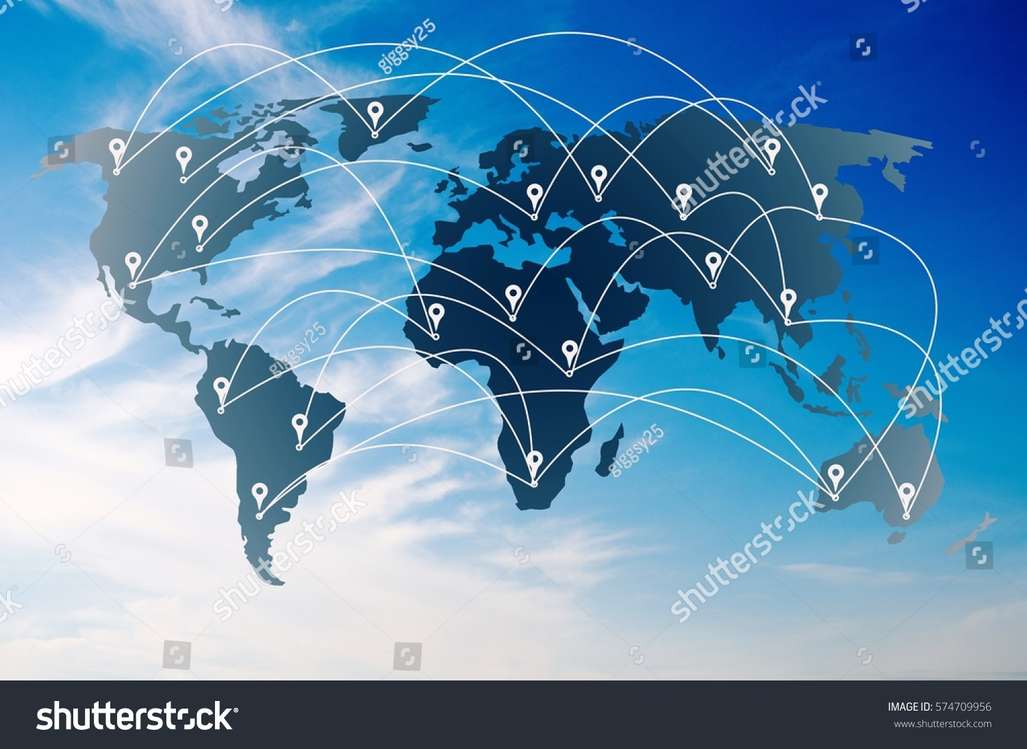World map pins connection concept on stock illustration 574709956 world map pins connection concept on blue sky background color tone effect gumiabroncs Choice Image