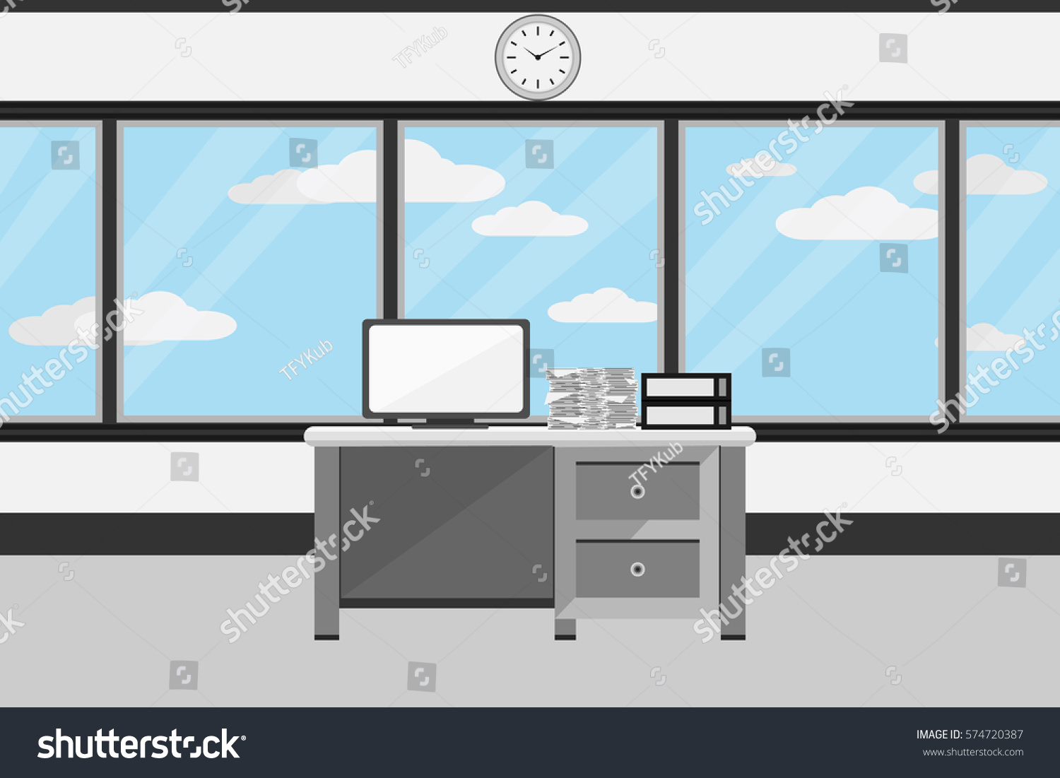 Interior office room design vector illustration stock for Room design vector