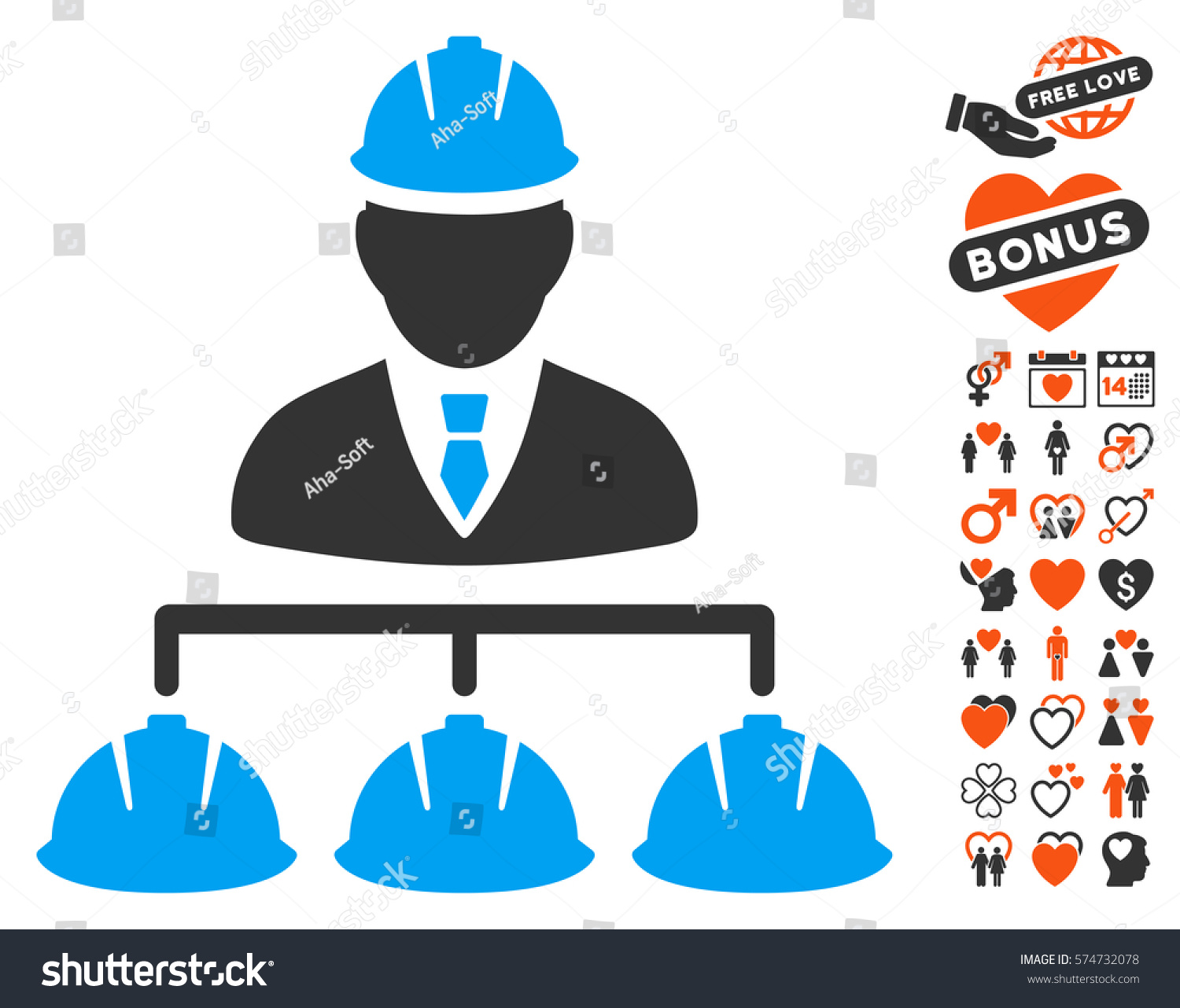 builder management icon bonus marriage graphic stock vector royalty