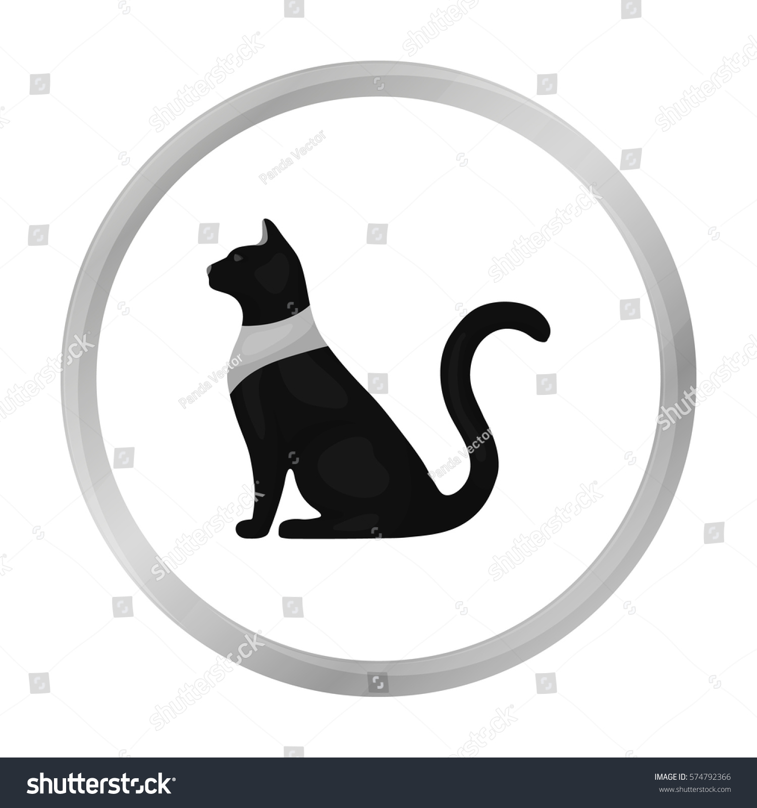 Cat Goddess Bastet Icon Monochrome Style Stock Vector Royalty Free
