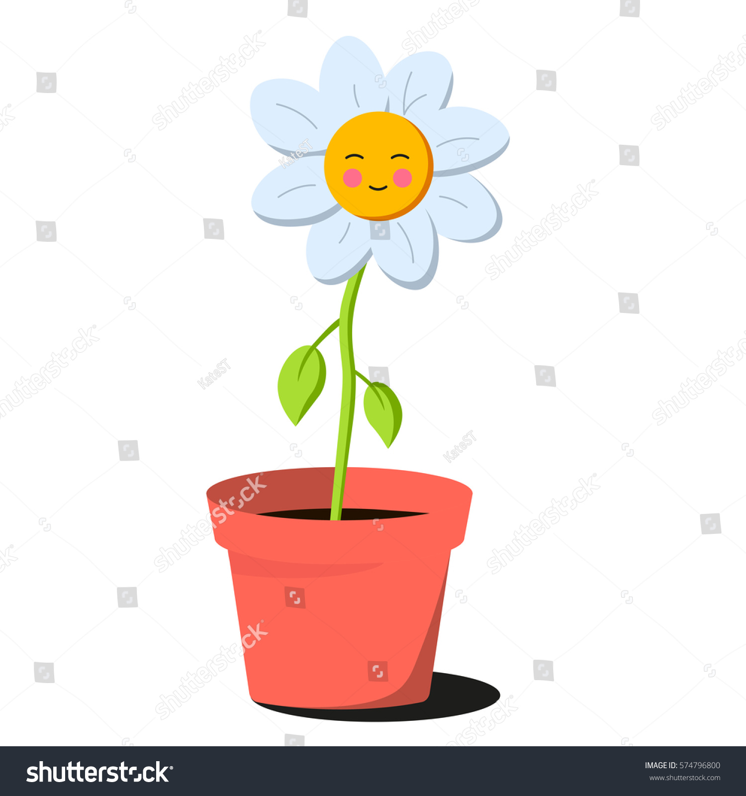 Vector Cartoon Happy Flower Pot Cute Stock Vector 574796800 ...