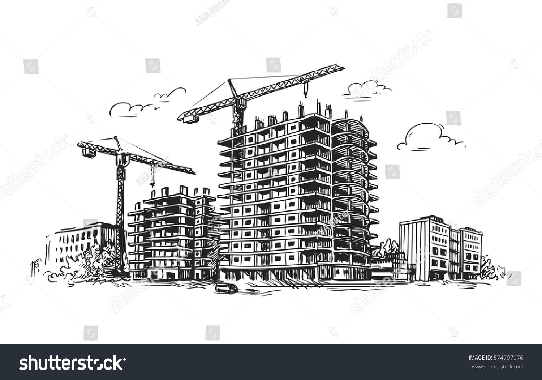 Urban Construction Building Sketch City House Stock Vector 574797976 - Shutterstock