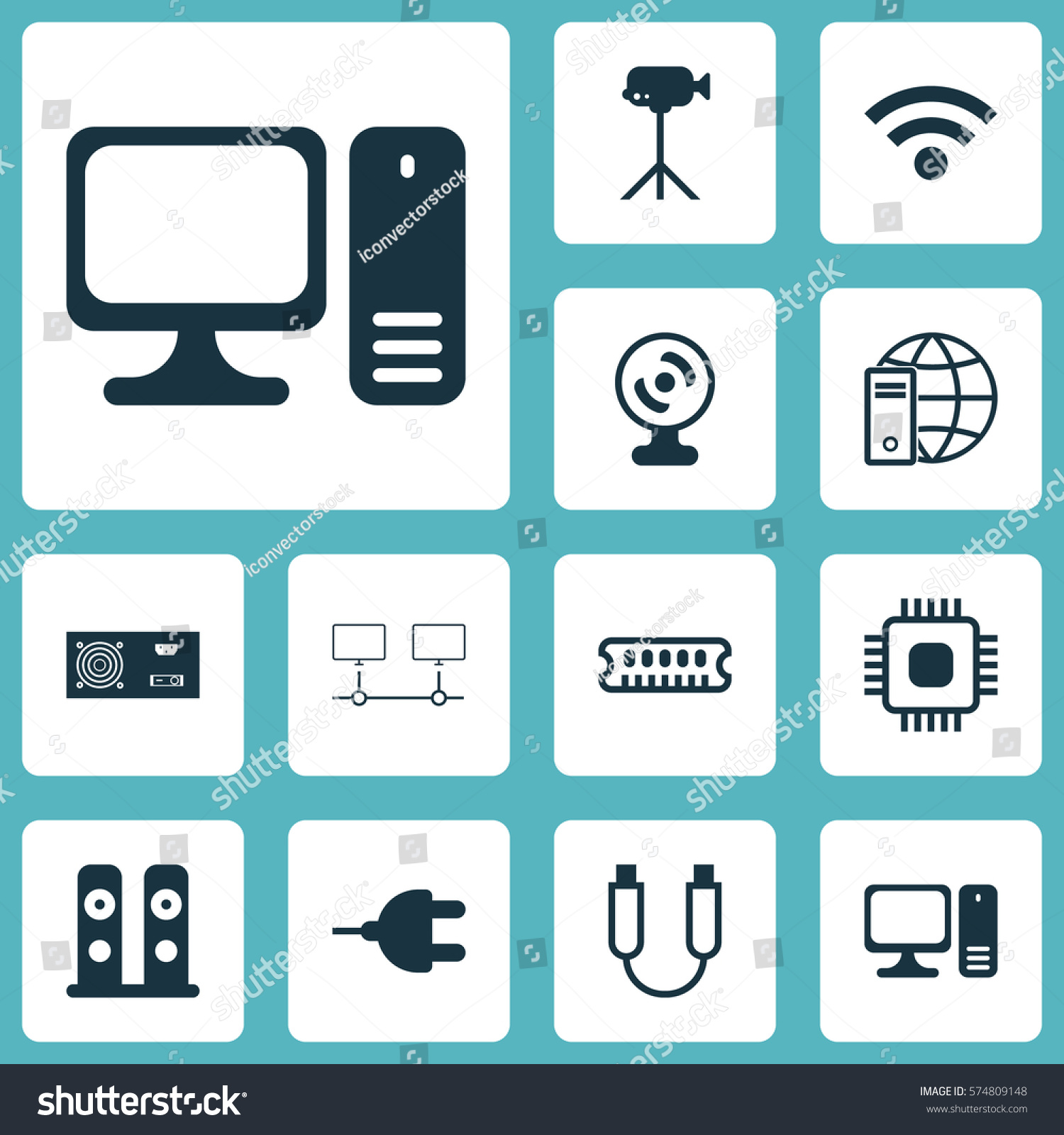 Set 12 Computer Hardware Icons Includes Stock Vector (2018 ...