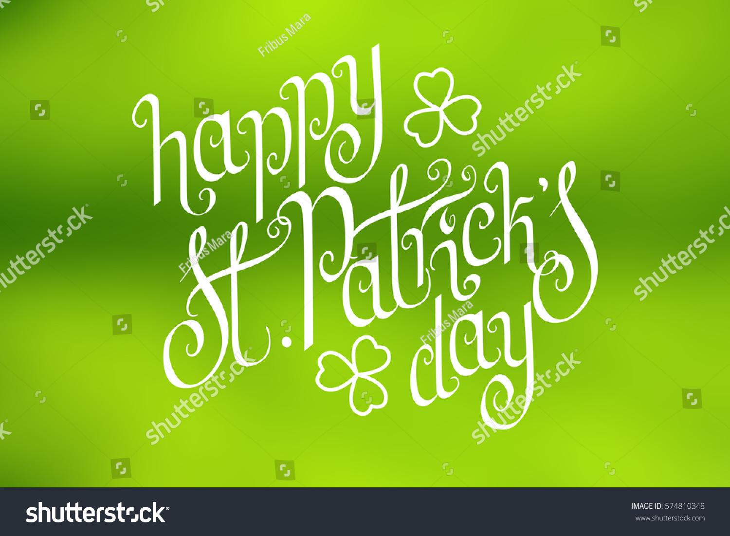 Hand Written St Patricks Day Greetings Over Horizontal Abstract