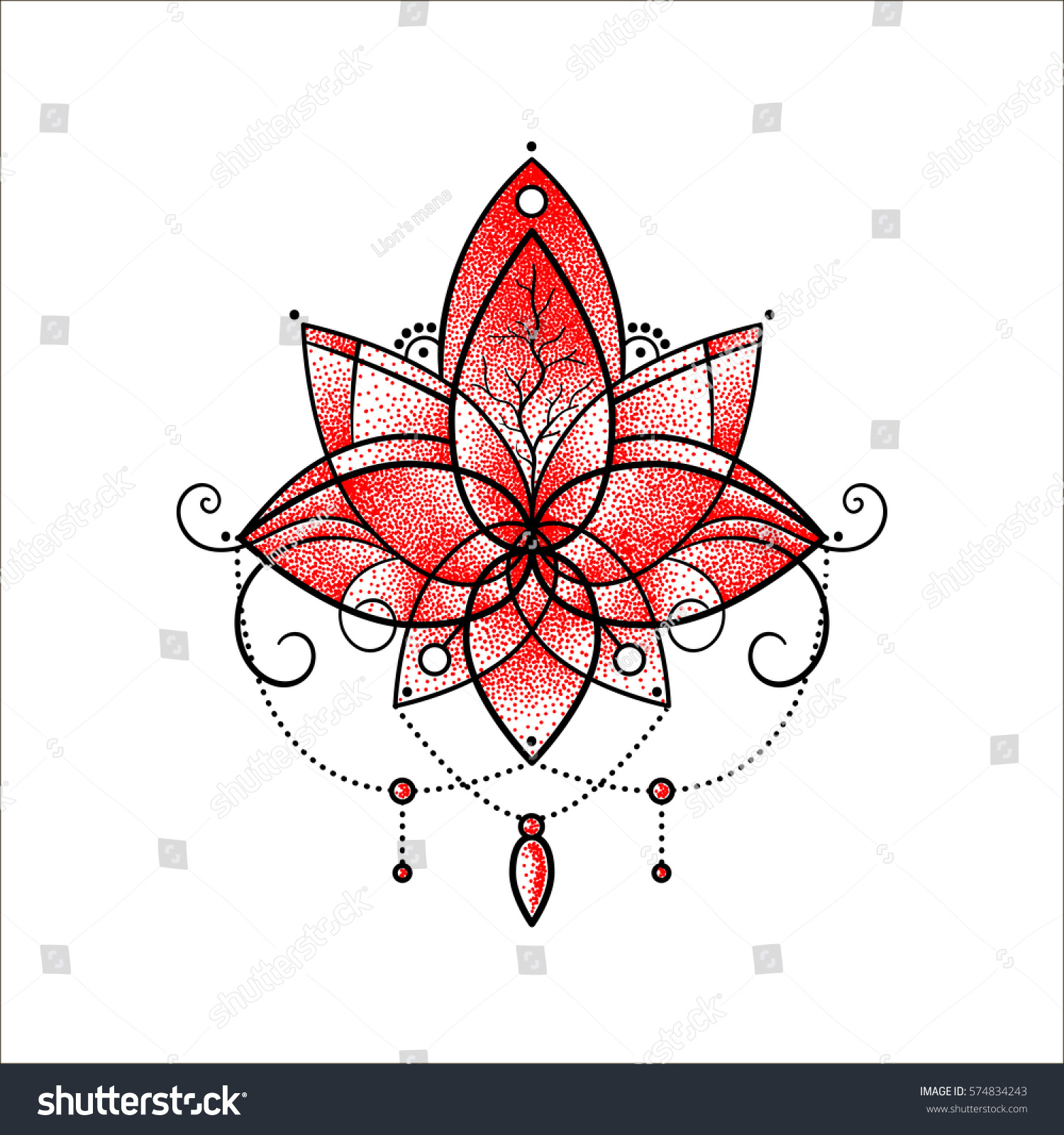Vector Ornamental Lotus Flower Ethnic Art Stock Vector 574834243 ...