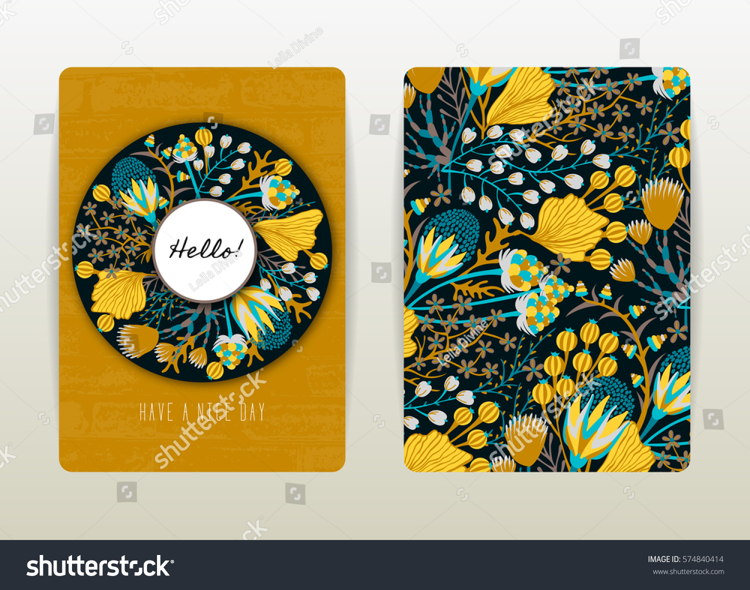 Book Cover Design With Flowers ~ Cover design floral pattern hand drawn stock vektorgrafik