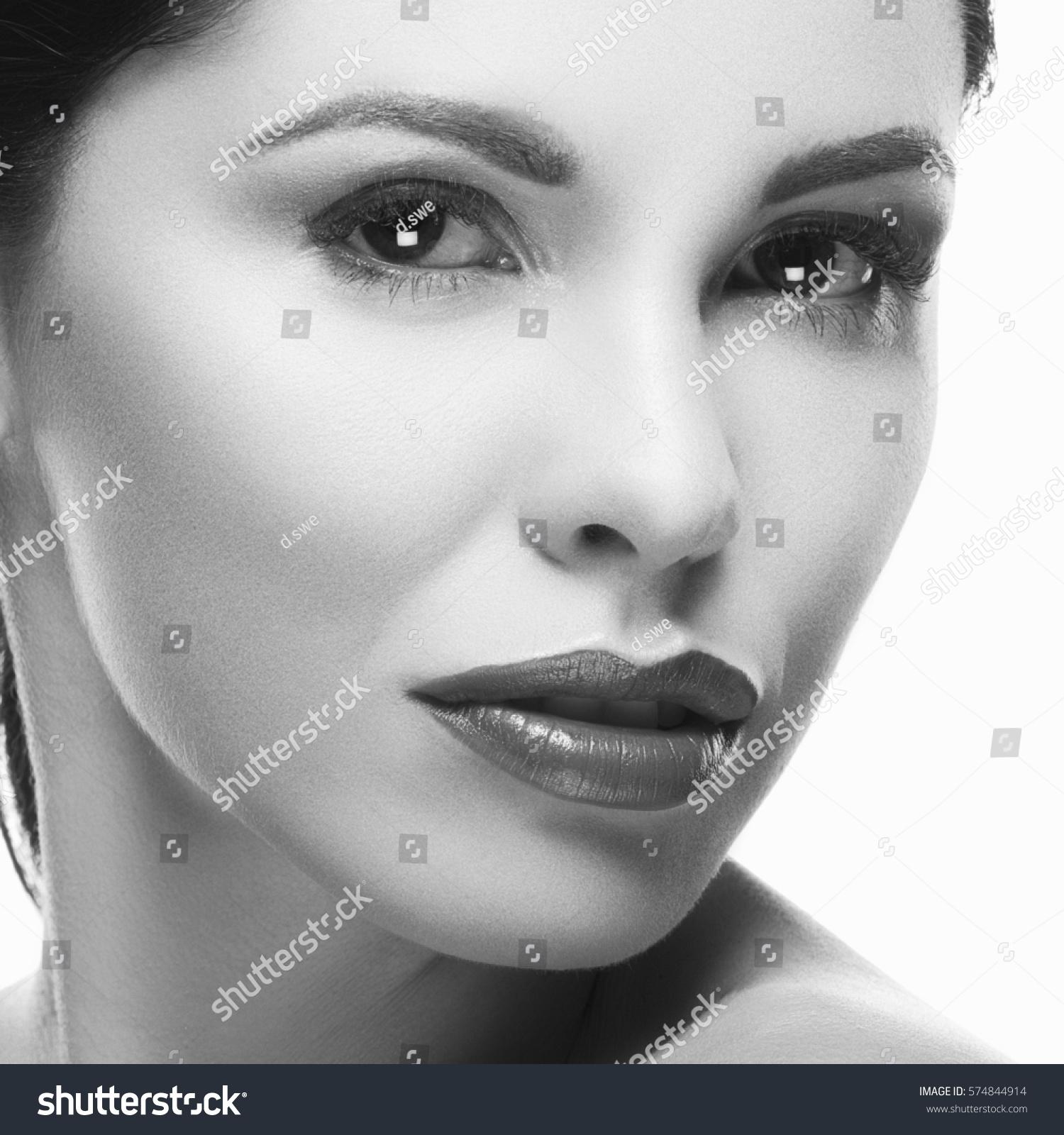 Beauty model caucasian girl nude makeup stock photo edit