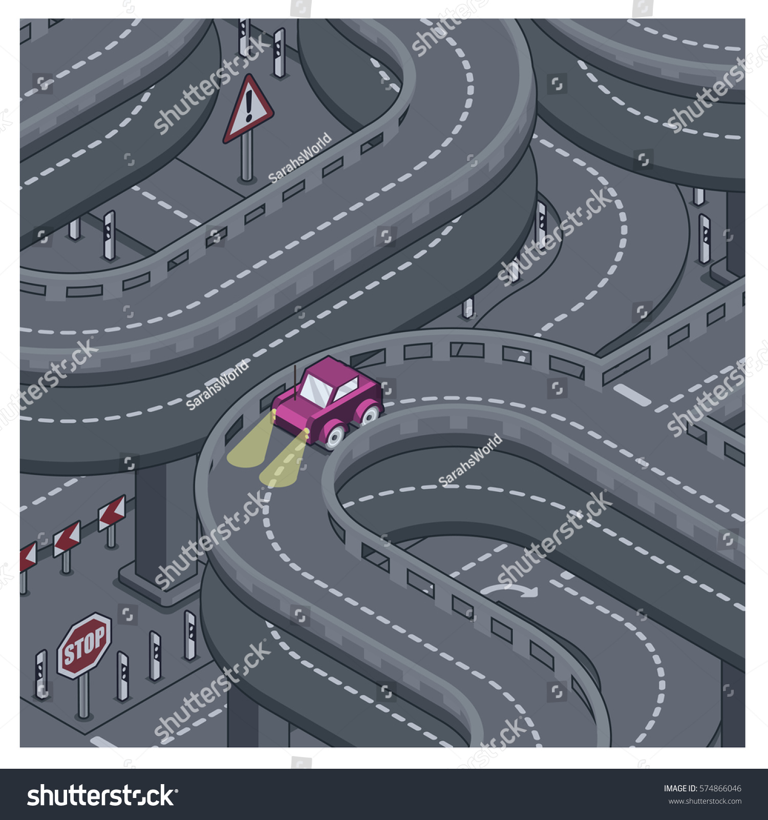 Little car driving with headlights on in the middle of the night on highway isometric