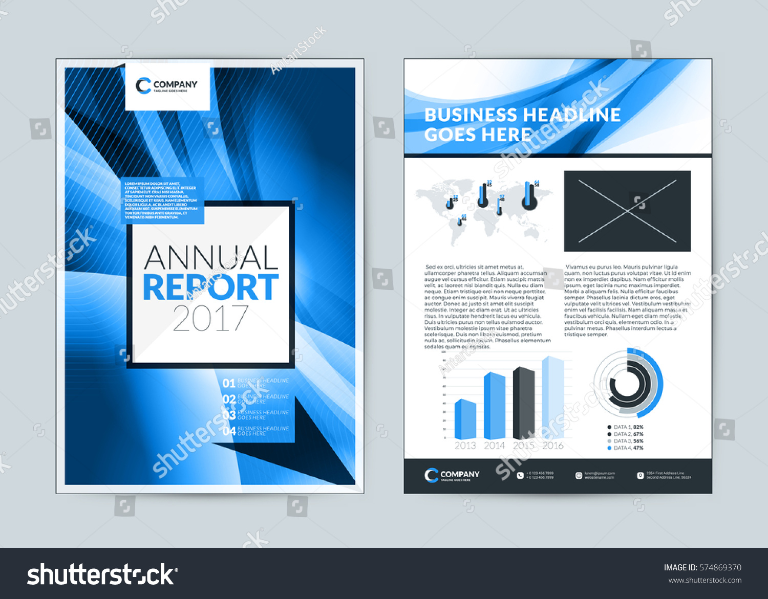 annual report cover design template vector stock vector 574869370