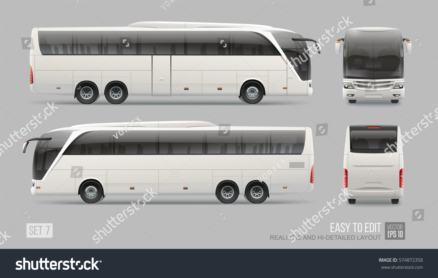 hidetailed vector coach bus blank surface stock vector royalty free