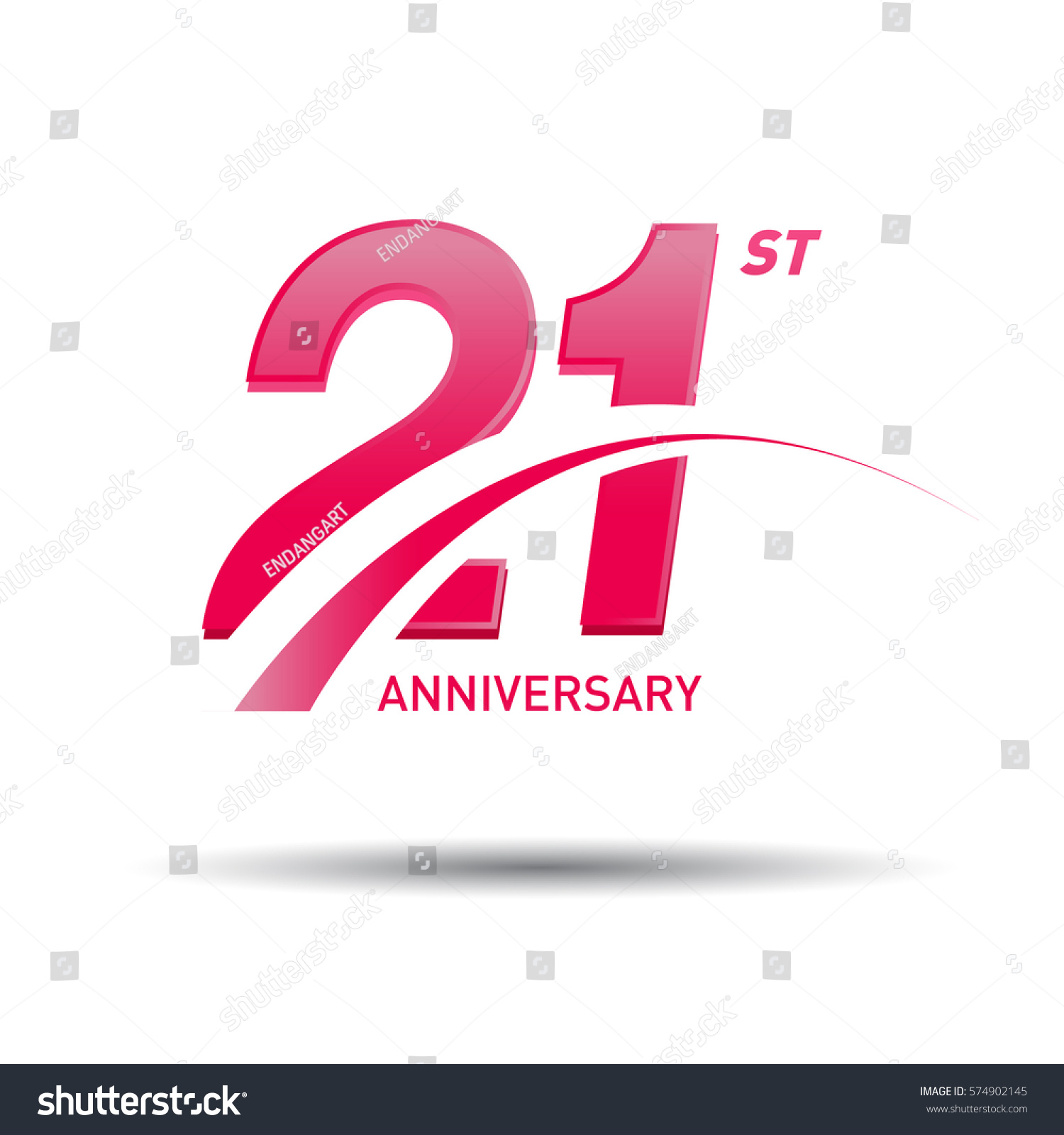 21 Years Pink Anniversary Business Coorporate Stock Vector Royalty