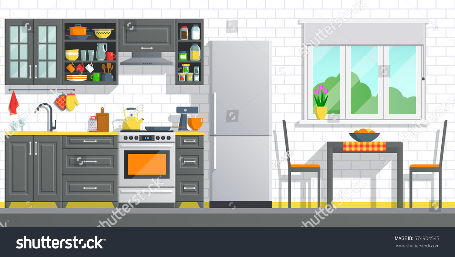Kitchen Appliances Black Interior On White Stock Vector 574904545 ...
