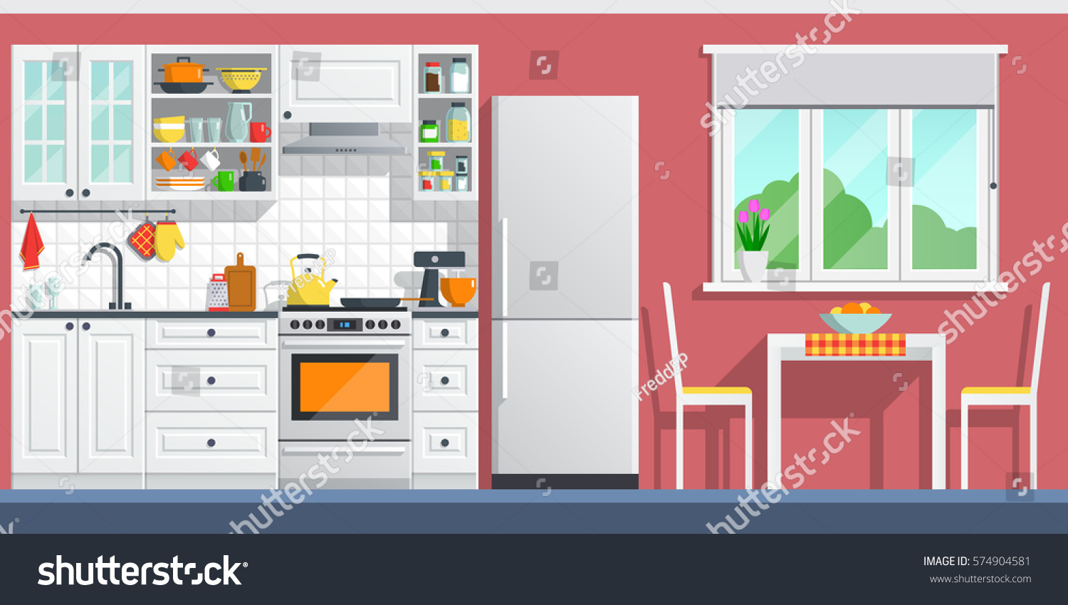 Cartoon kitchen with cabinets and window vector art illustration -  Vectors Illustrations Footage Music Kitchen Interior With Table Stove Cupboard Dishes And Fridge Flat Home Art