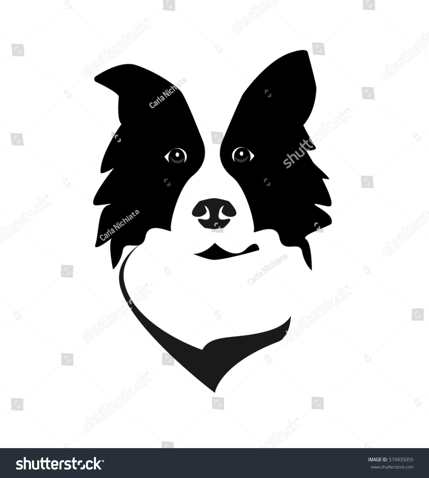 border collie head logo icon vector stock vector 574935055 shutterstock. Black Bedroom Furniture Sets. Home Design Ideas