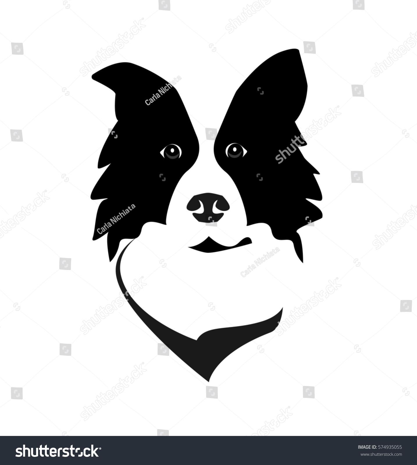 border collie head logo icon vector stock vector 574935055 shutterstock. Black Bedroom Furniture Sets. Home Design Ideas