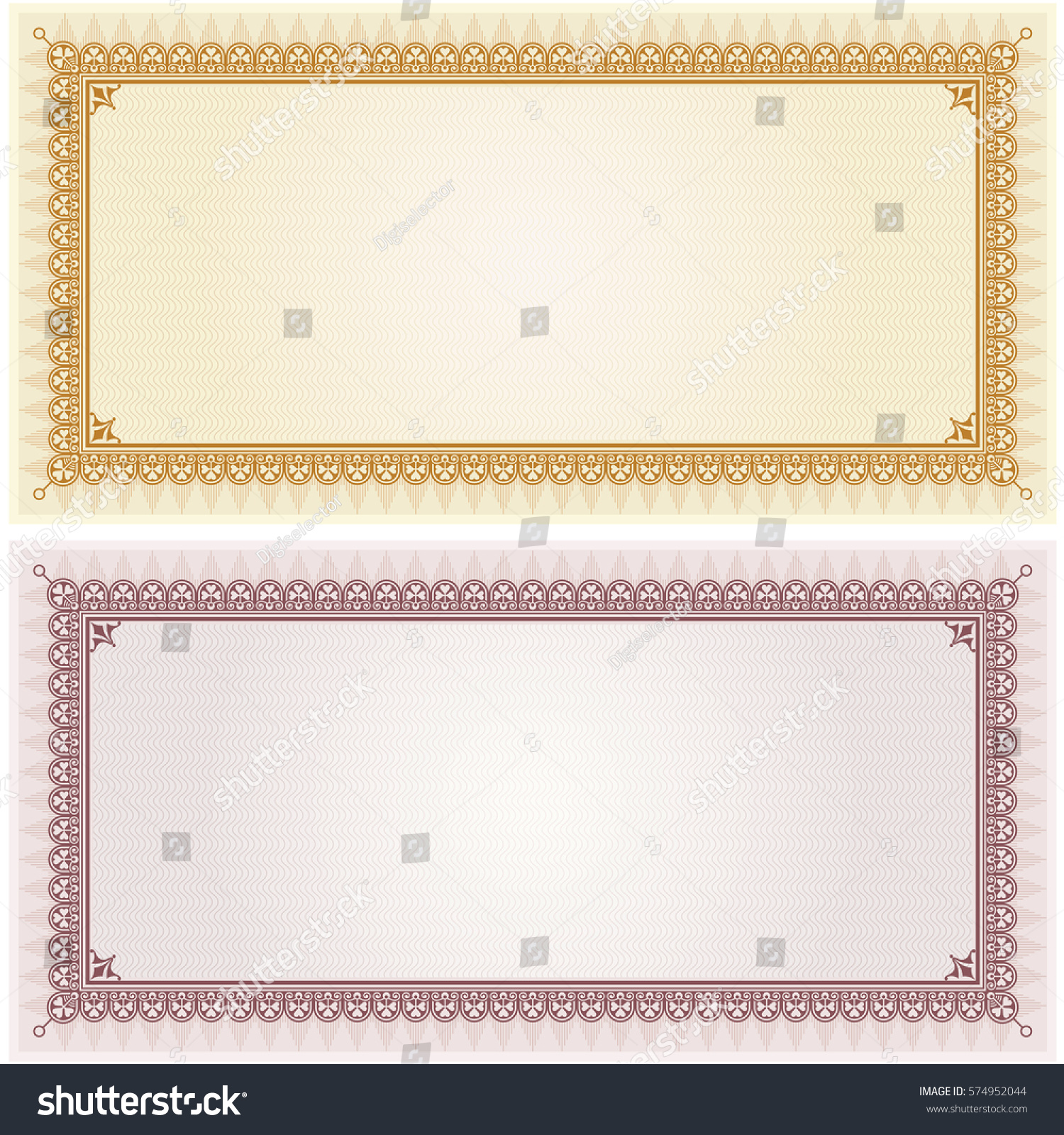 certificate gift coupon card blank template stock vector