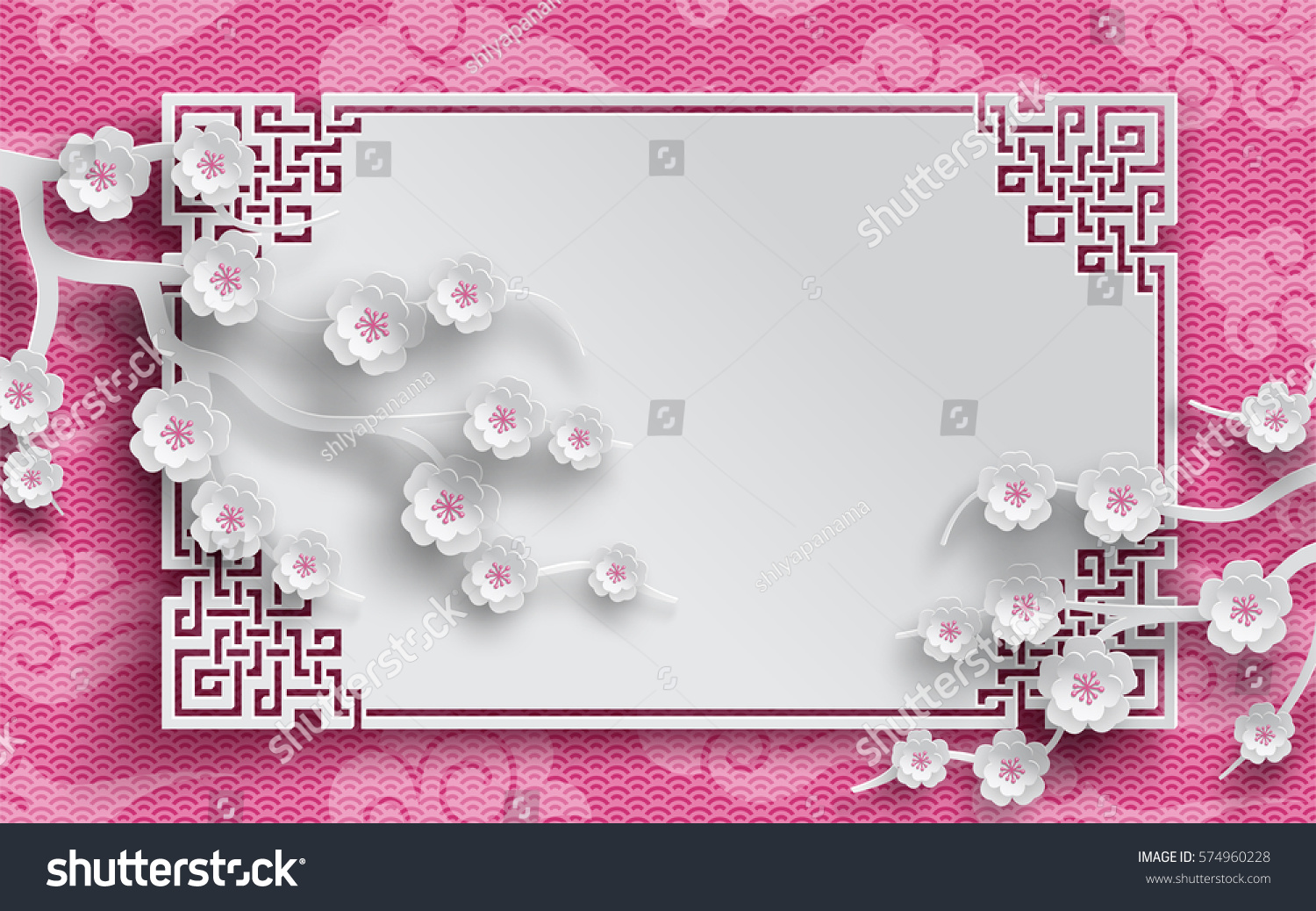 branches of cherry flowers oriental frame on pink japan pattern background for chinese new year