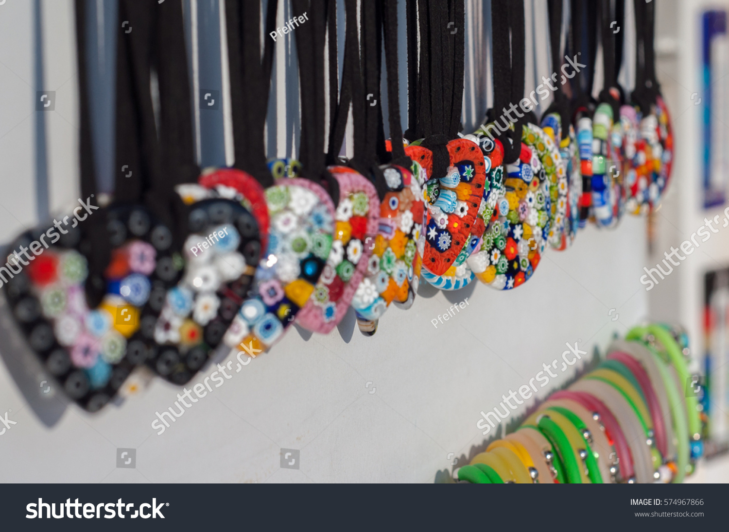 Herat shaped glass pendants sale souvenirs stock photo image herat shaped glass pendants in sale as souvenirs for tourist in murano island venice aloadofball Gallery