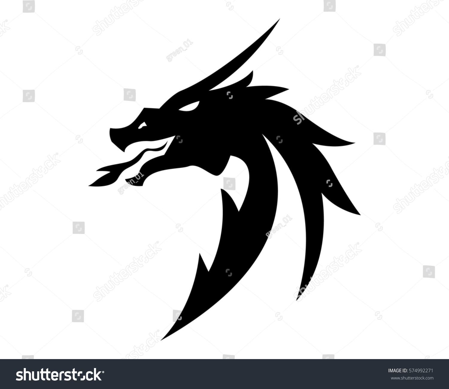 head dragon flat color logo template stock vector royalty free