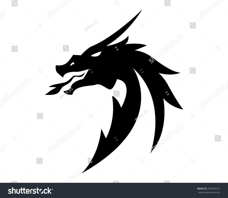 head dragon flat color logo template stock vector royalty free