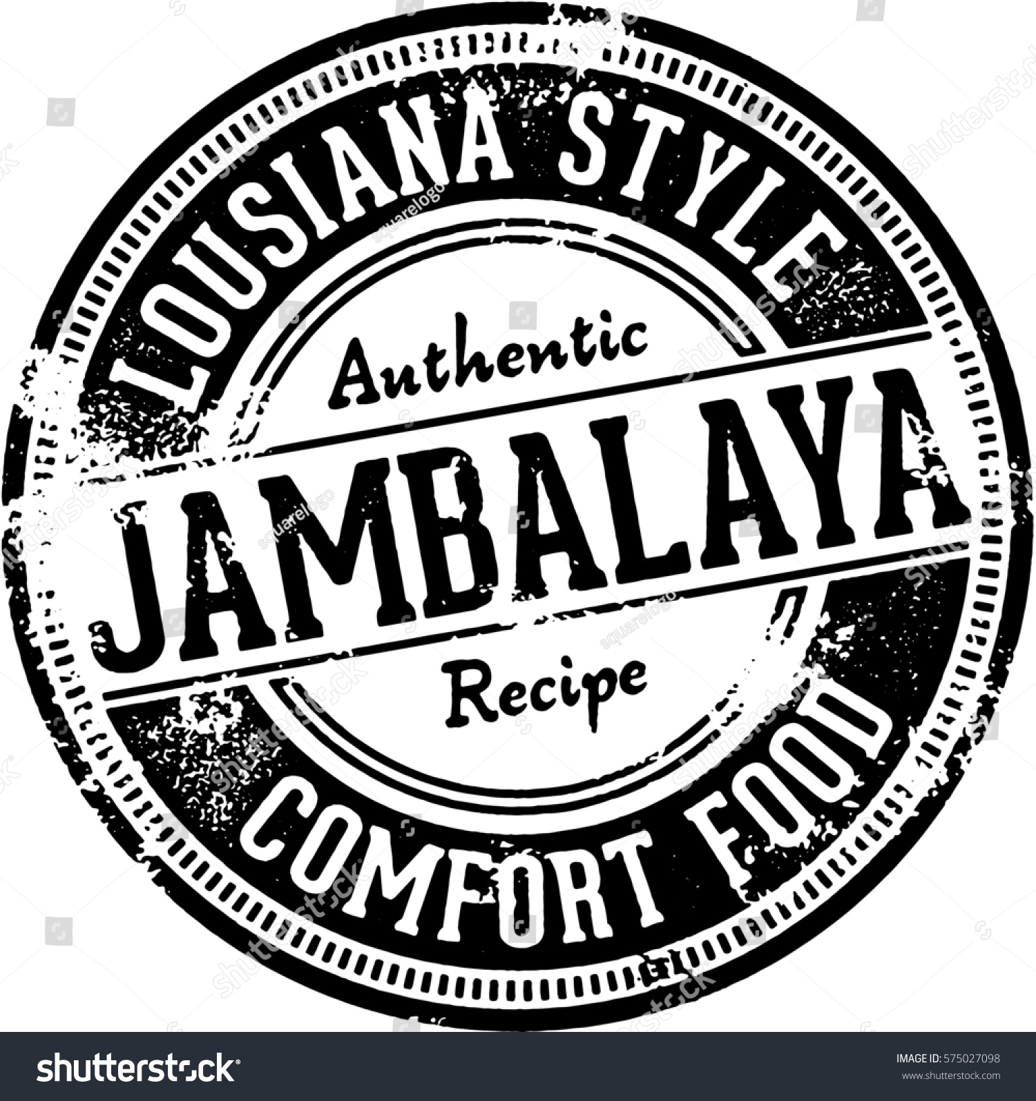 Vintage Jambalaya Restaurant Menu Stamp Stock Vector