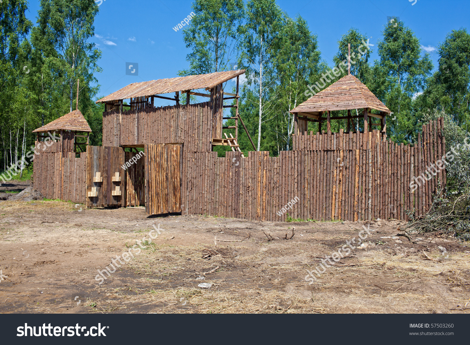 Ancient wooden fort at sunny day stock photo 57503260 for How to make a fort out of wood