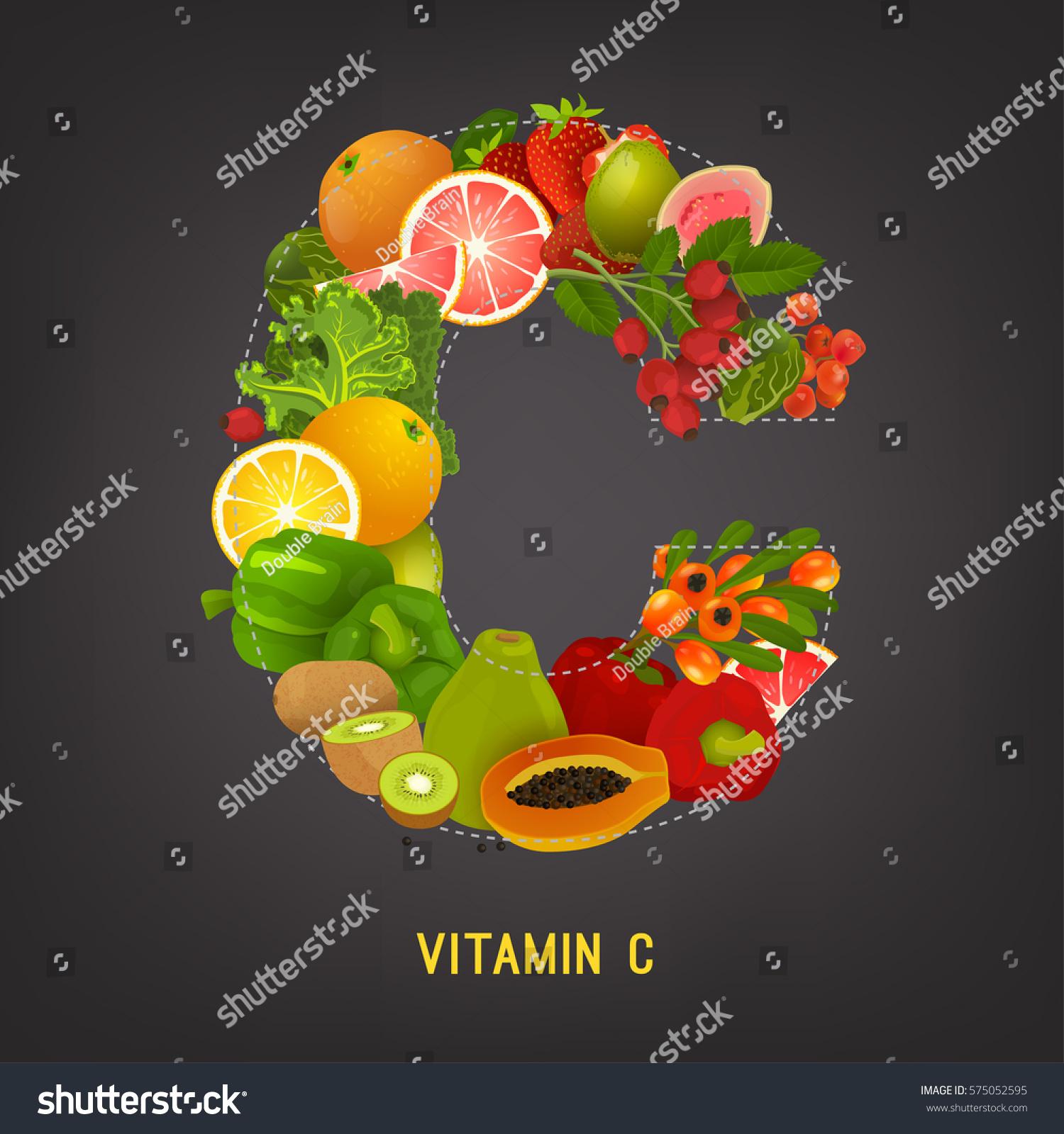 High Vitamin C Foods Healthy Fruits Stock Vector