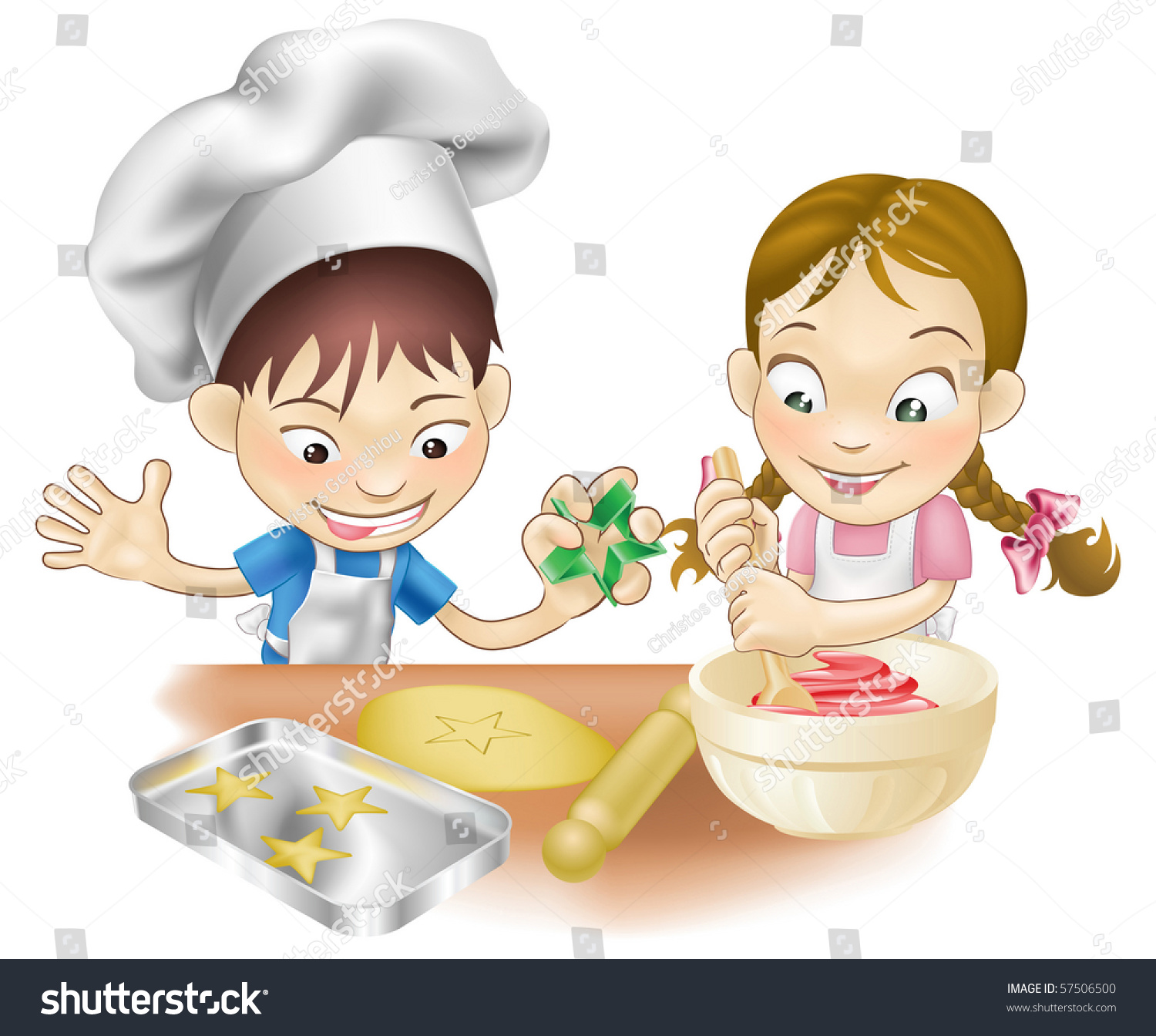 Fun Kitchen Illustration Two Children Having Fun Kitchen Stock Vector 57506500