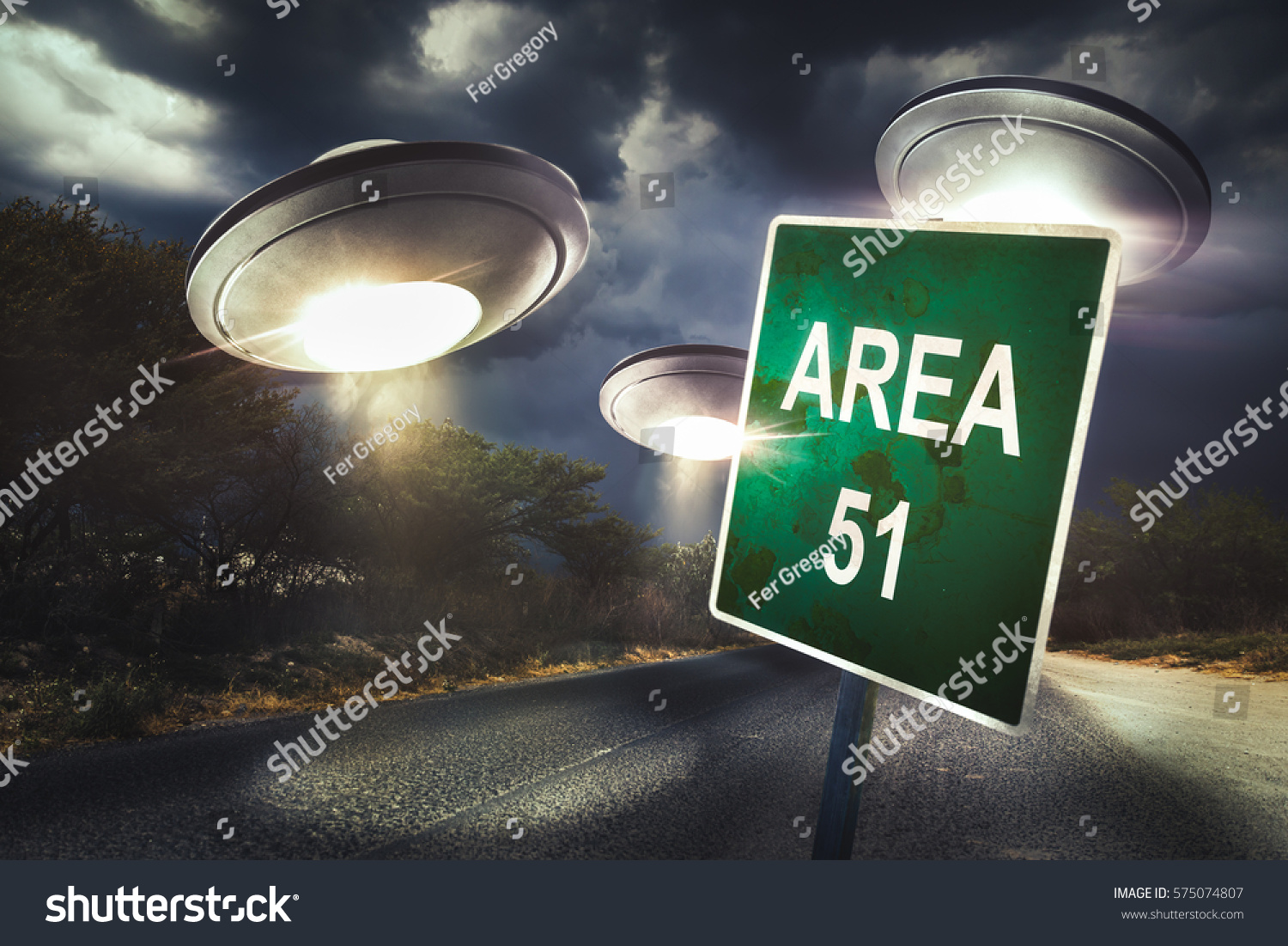 Area 51 Sign Middle Road Ufos Stock Photo (Edit Now) 575074807
