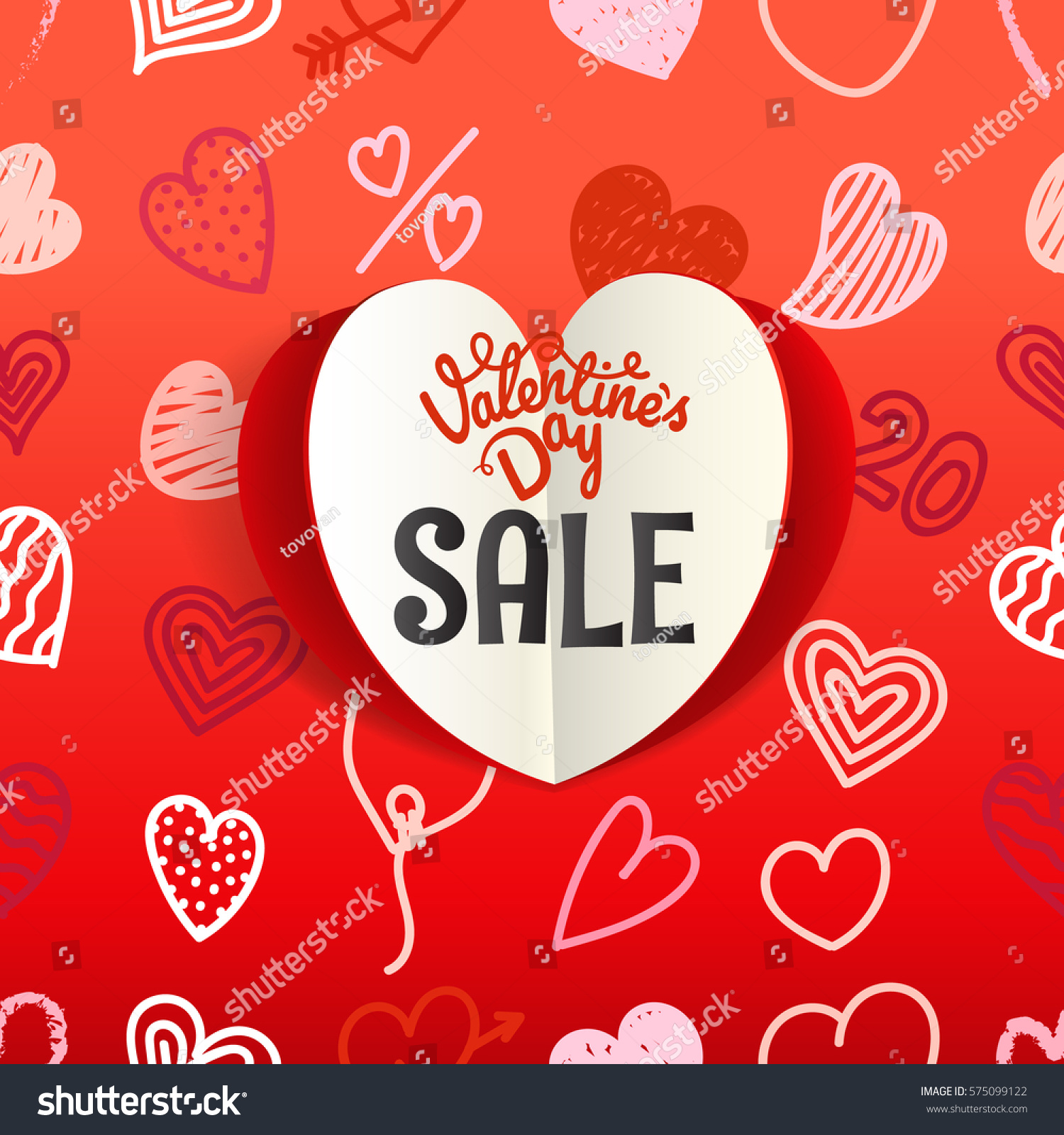 Valentines Day Special Offer Card Different Stock Vector Royalty