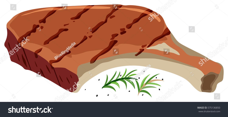 Pork Chop On White Background Illustration Stock Vector 575136850 ... for Pork Chop Clipart  193tgx