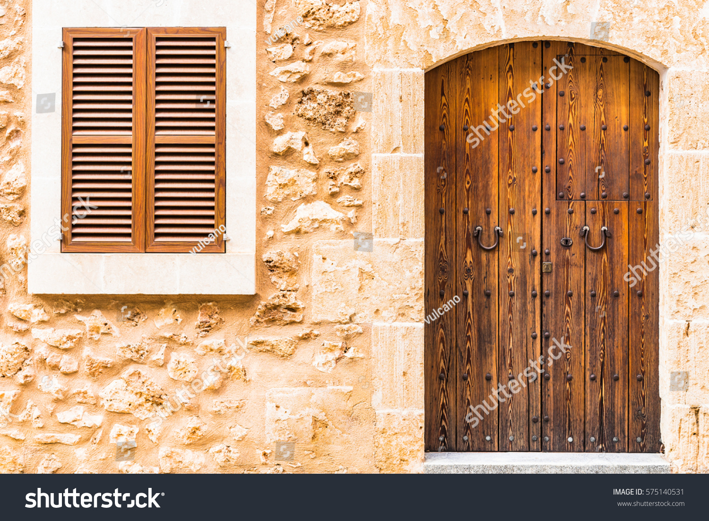 Brown Wooden Shutters : Brown window shutters wood door traditional stock photo