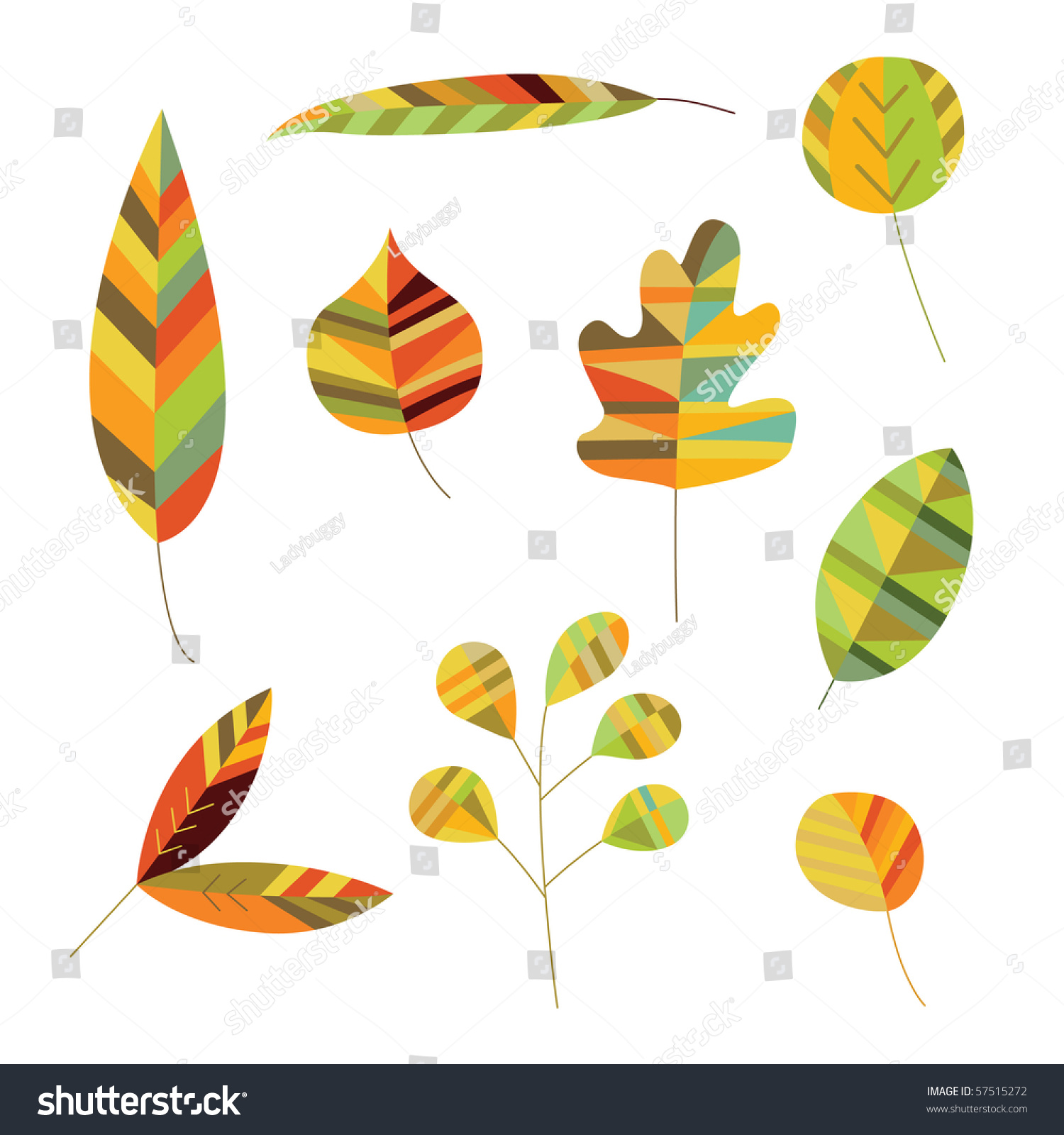 Warm Shades Of Green : Decorative leaves in warm shades of green brown and