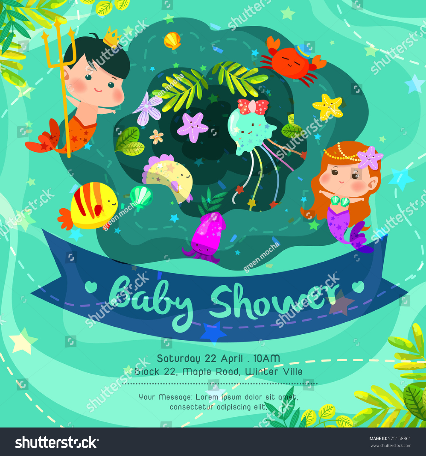 Beautiful Under The Sea Baby Shower Invitation Card With Cute Merman And  Mermaid