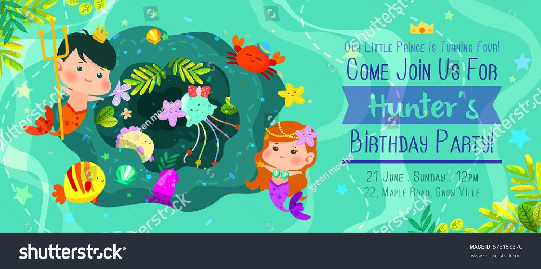 Beautiful Under Sea Birthday Invitation Card Stock Vector 575158870 ...