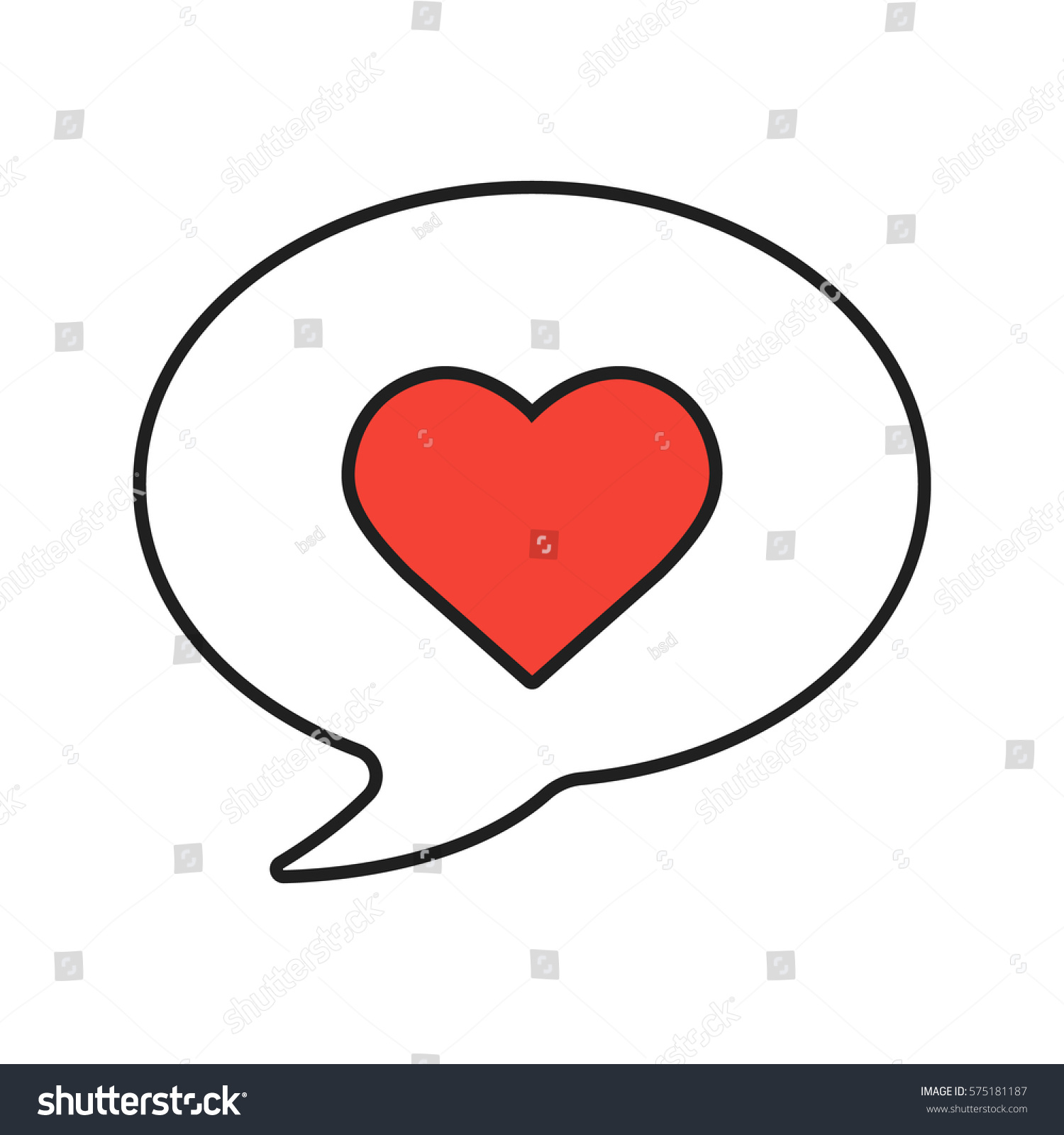 Love Message Linear Icon Thin Line Stock Vector 575181187 Shutterstock