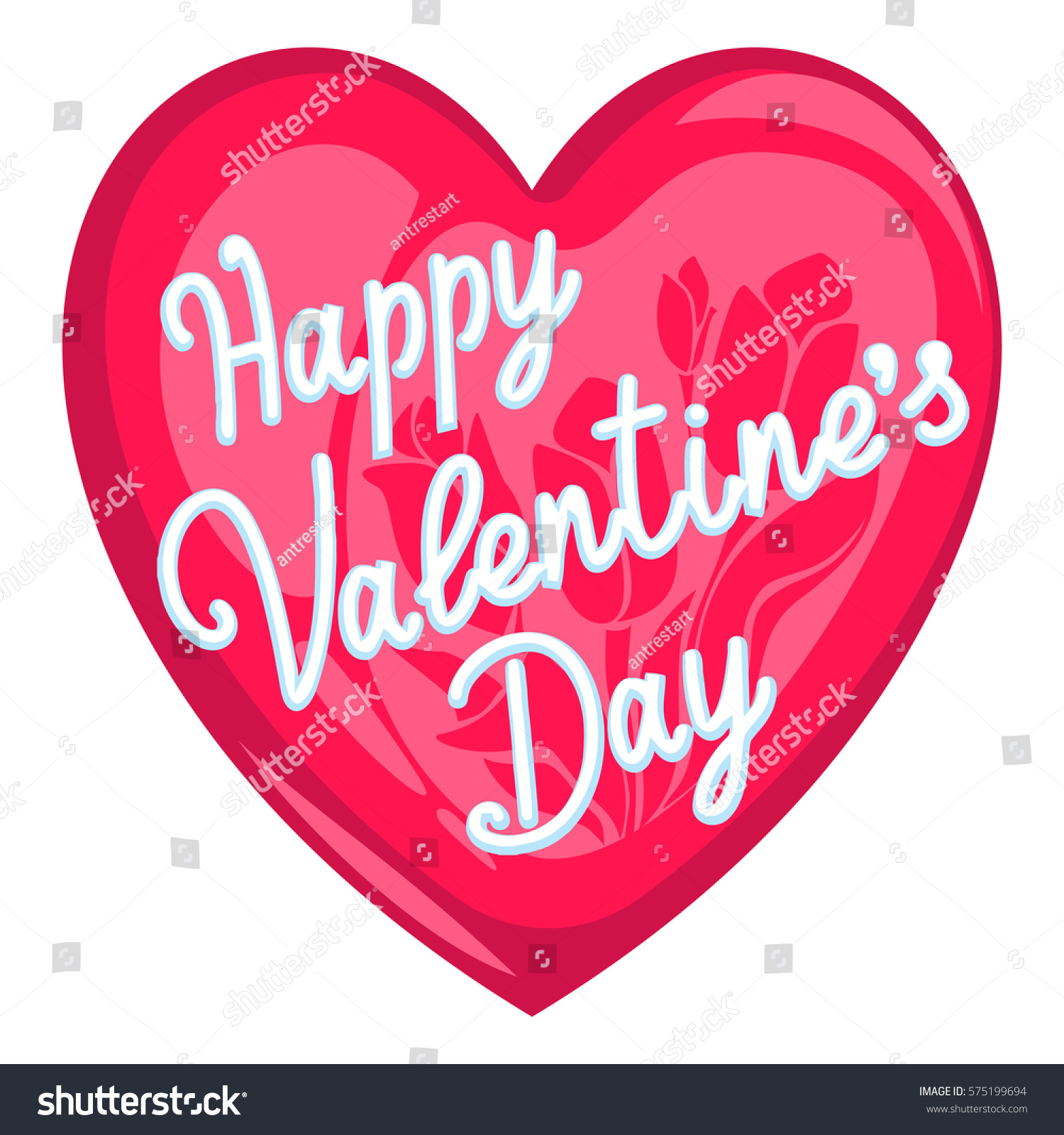 Happy Valentines Day Cartoon Vector Heart Stock Vector Royalty Free