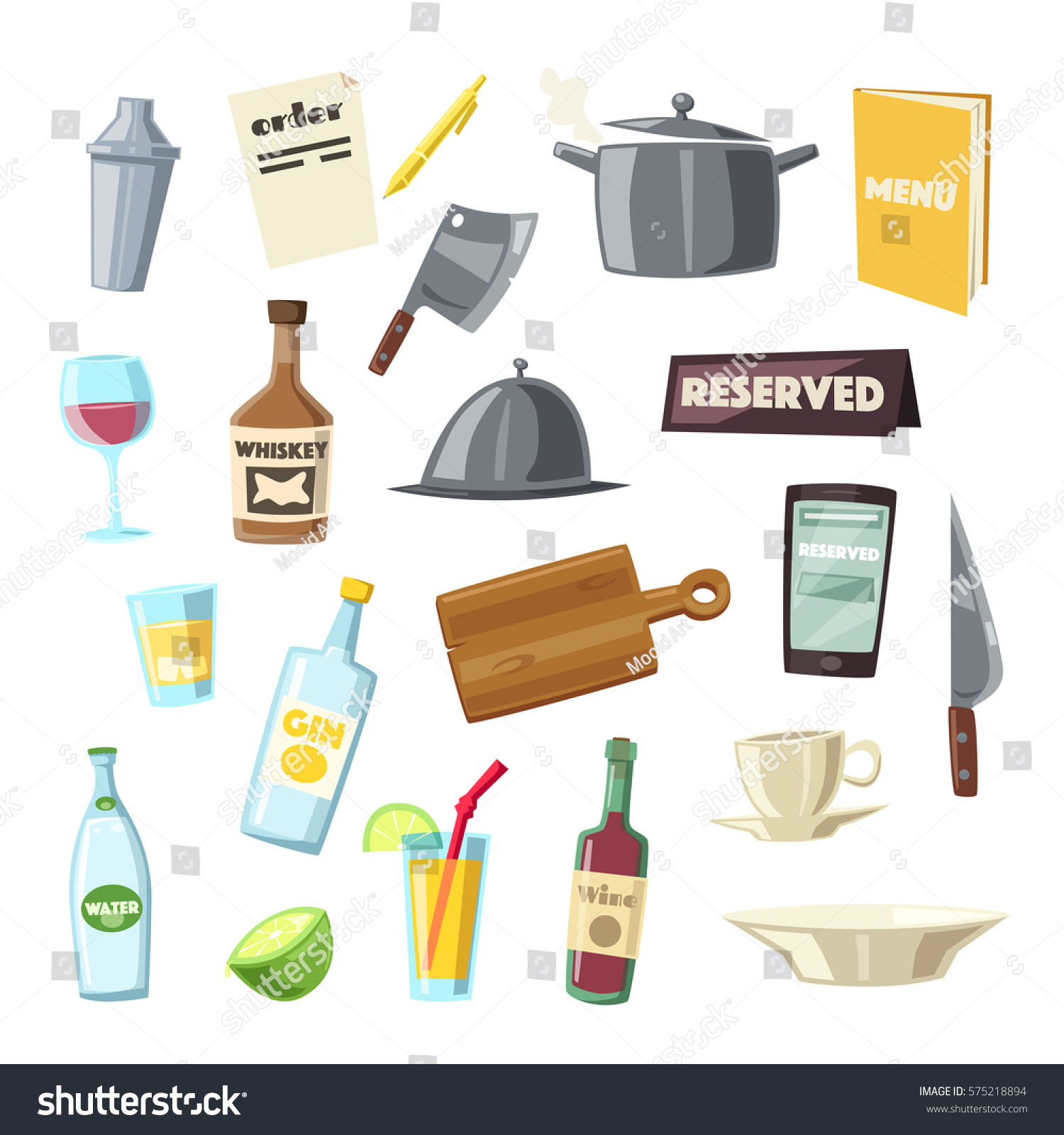 Set kitchen equipment cartoon vector illustration stock for Kitchen set vector