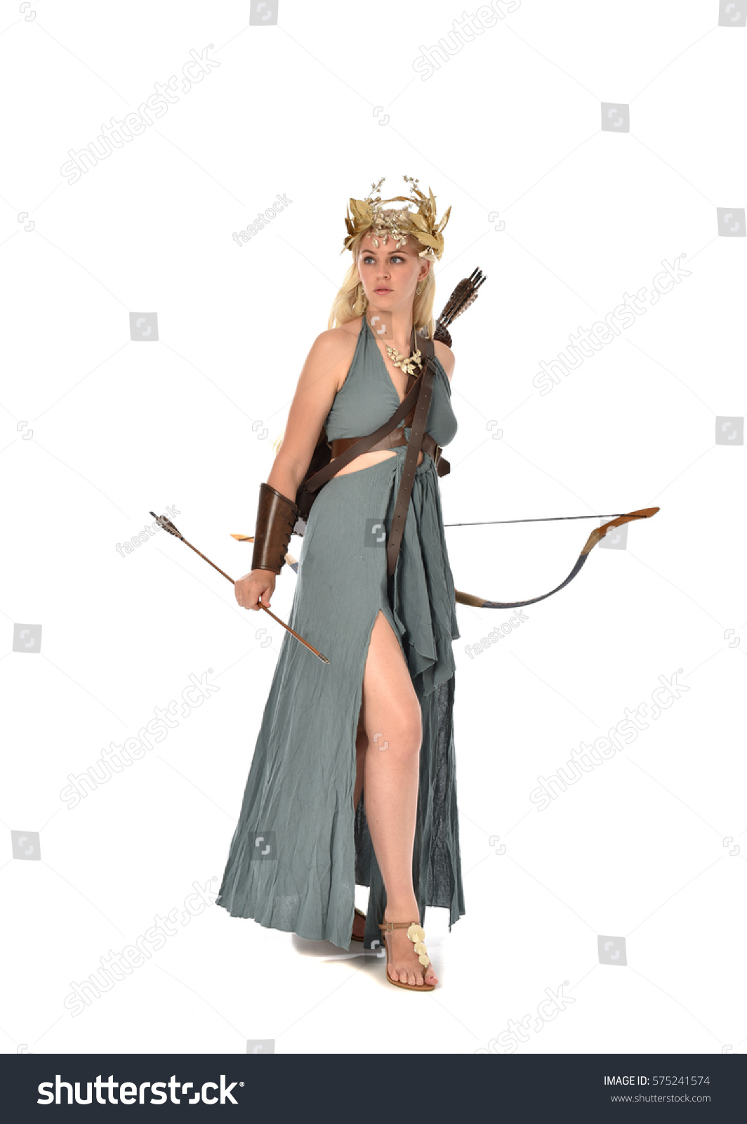 Full Length Portrait Archer Woman Green Stock Photo (Royalty Free ...