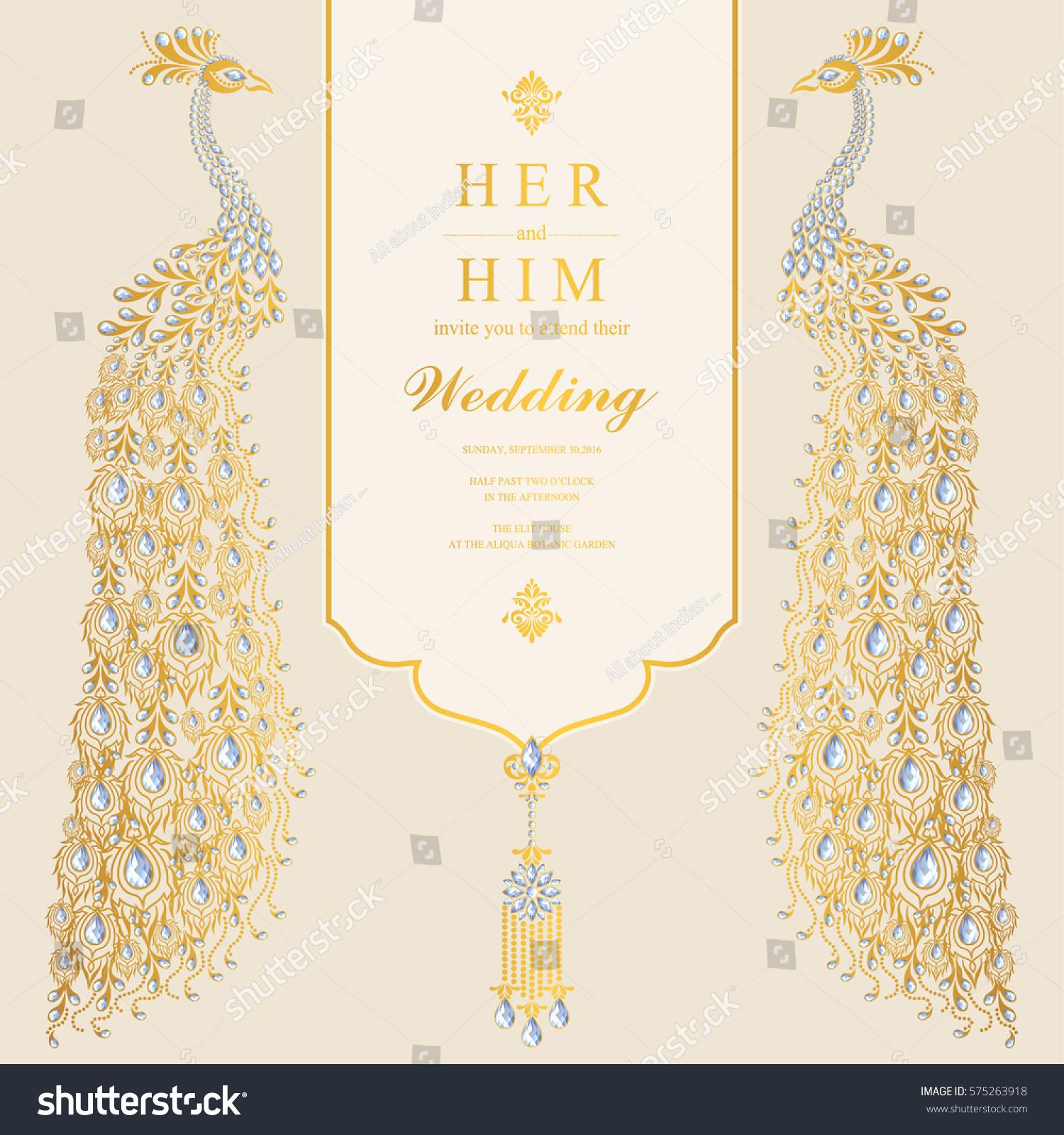 Indian Wedding Invitation Card Templates Gold Stock Vector HD ...