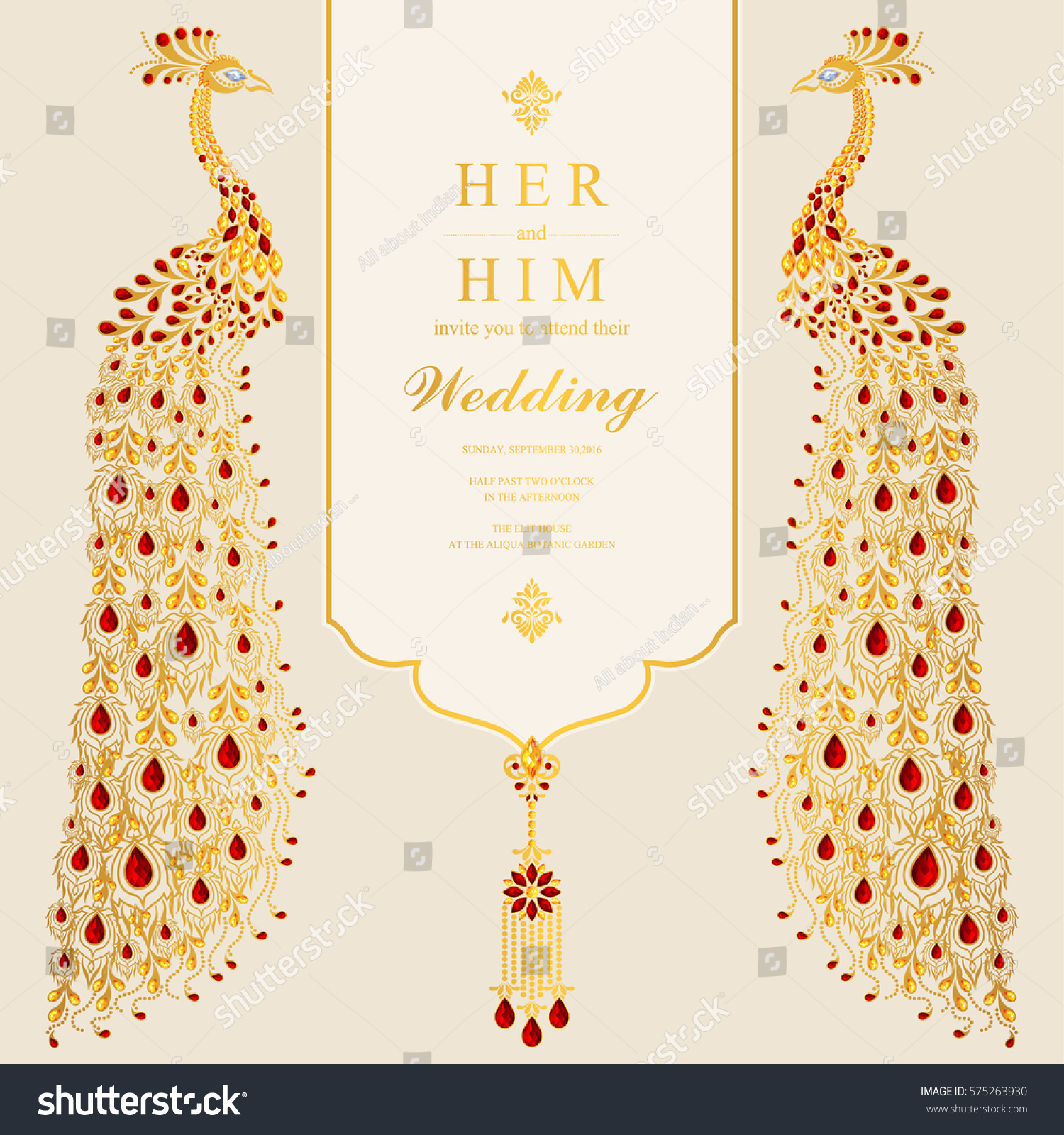 Indian wedding invitation card templates gold em vetor stock indian wedding invitation card templates gold em vetor stock 575263930 shutterstock stopboris Images