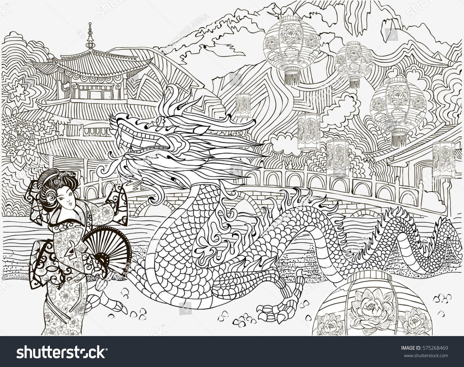 Coloring Pages Lantern Festival China Dragon Stock Vector (Royalty ...