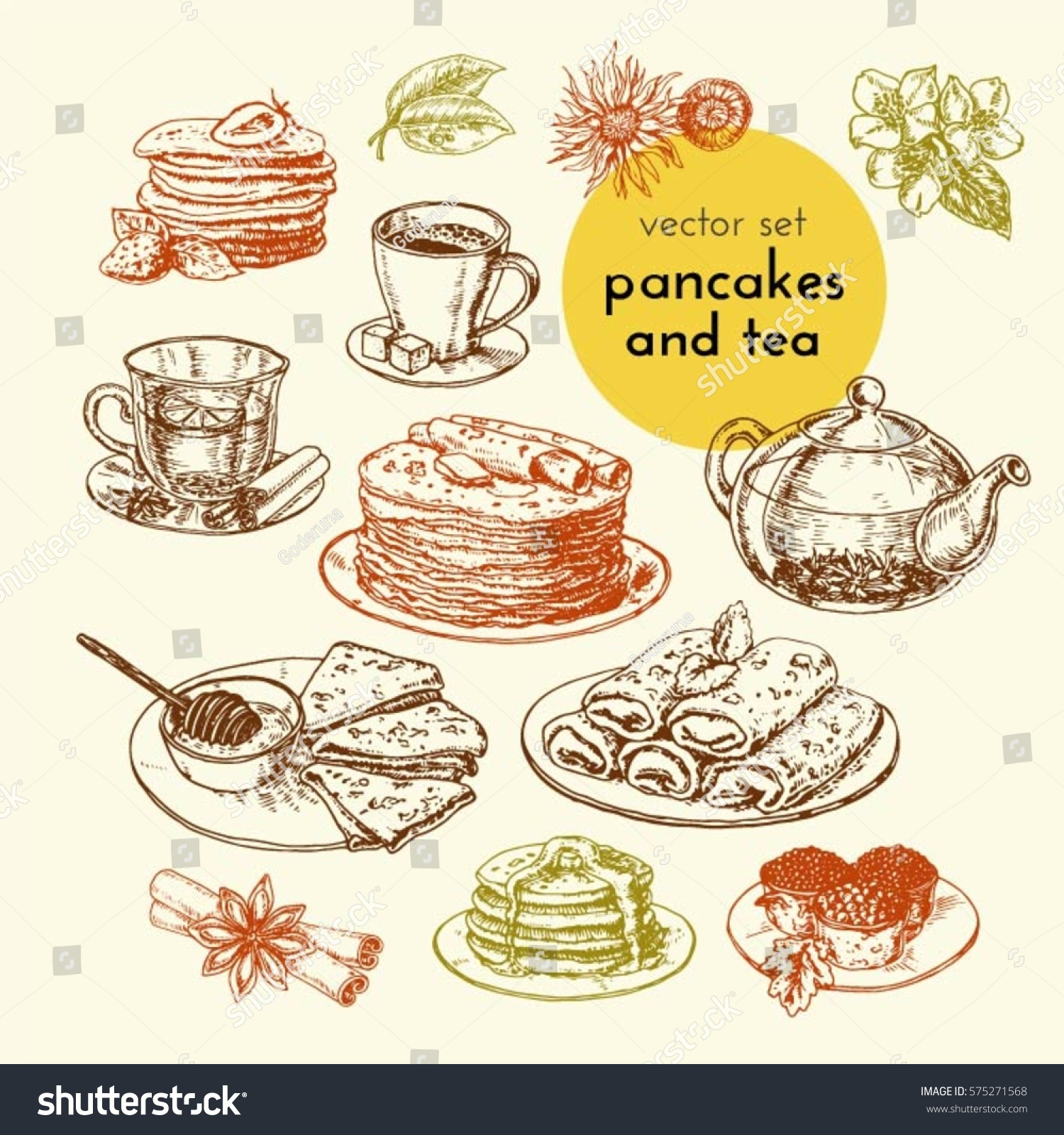 For restaurant pictures graphics illustrations clipart photos - Vector Set Of Pancakes And Tea Illustrations For The Menu Of Restaurants And Cafes
