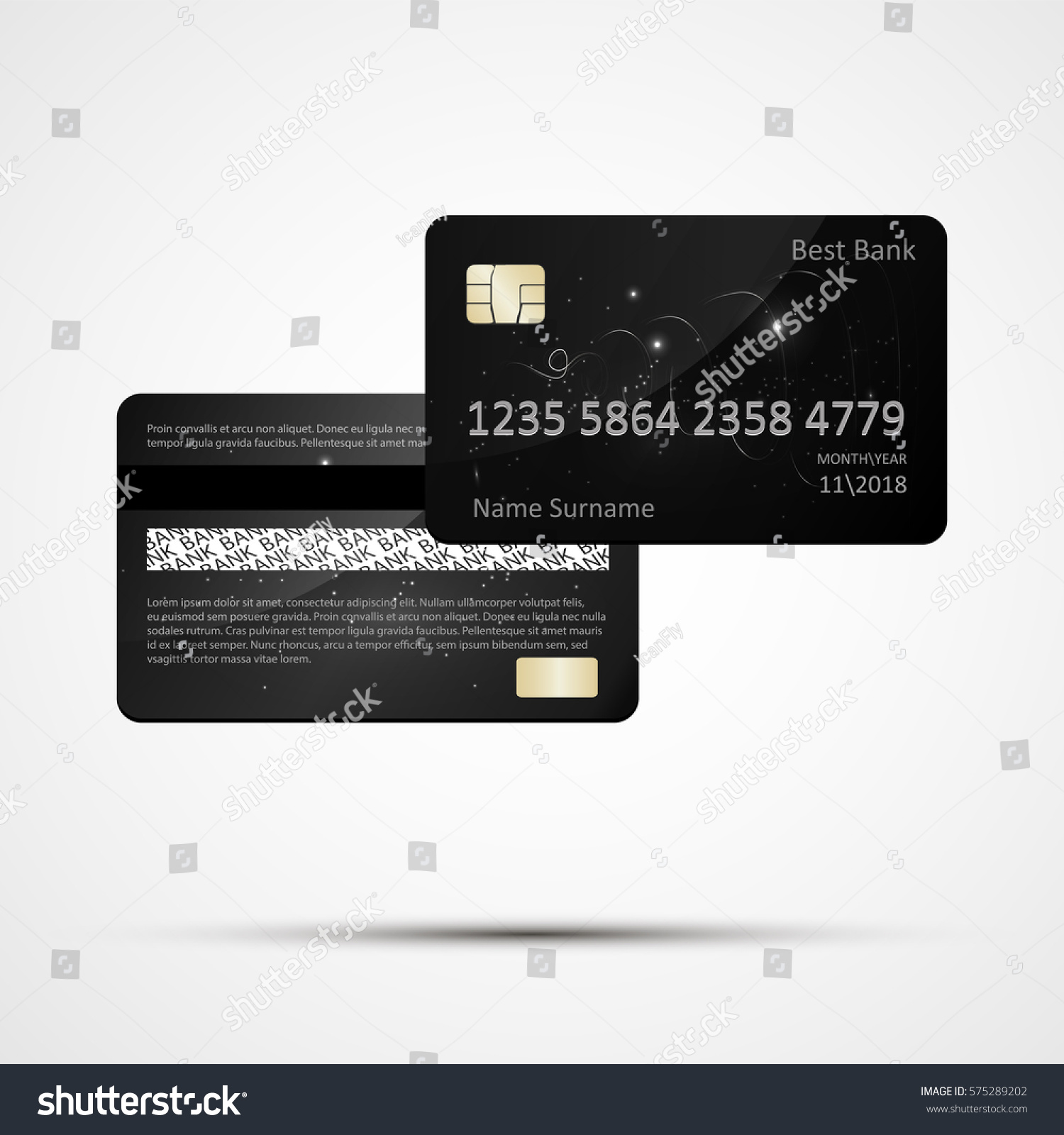 plastic credit card templates isolated two stock vector