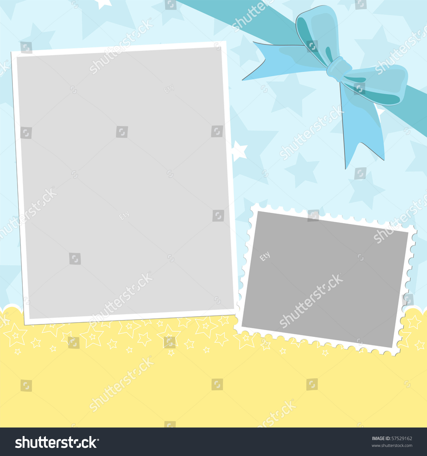 Blank Template Greetings Card Photo Frame Stock Illustration