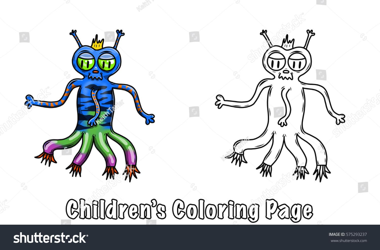 Coloring Page Children Crazy Space Alien Stock Illustration 575293237