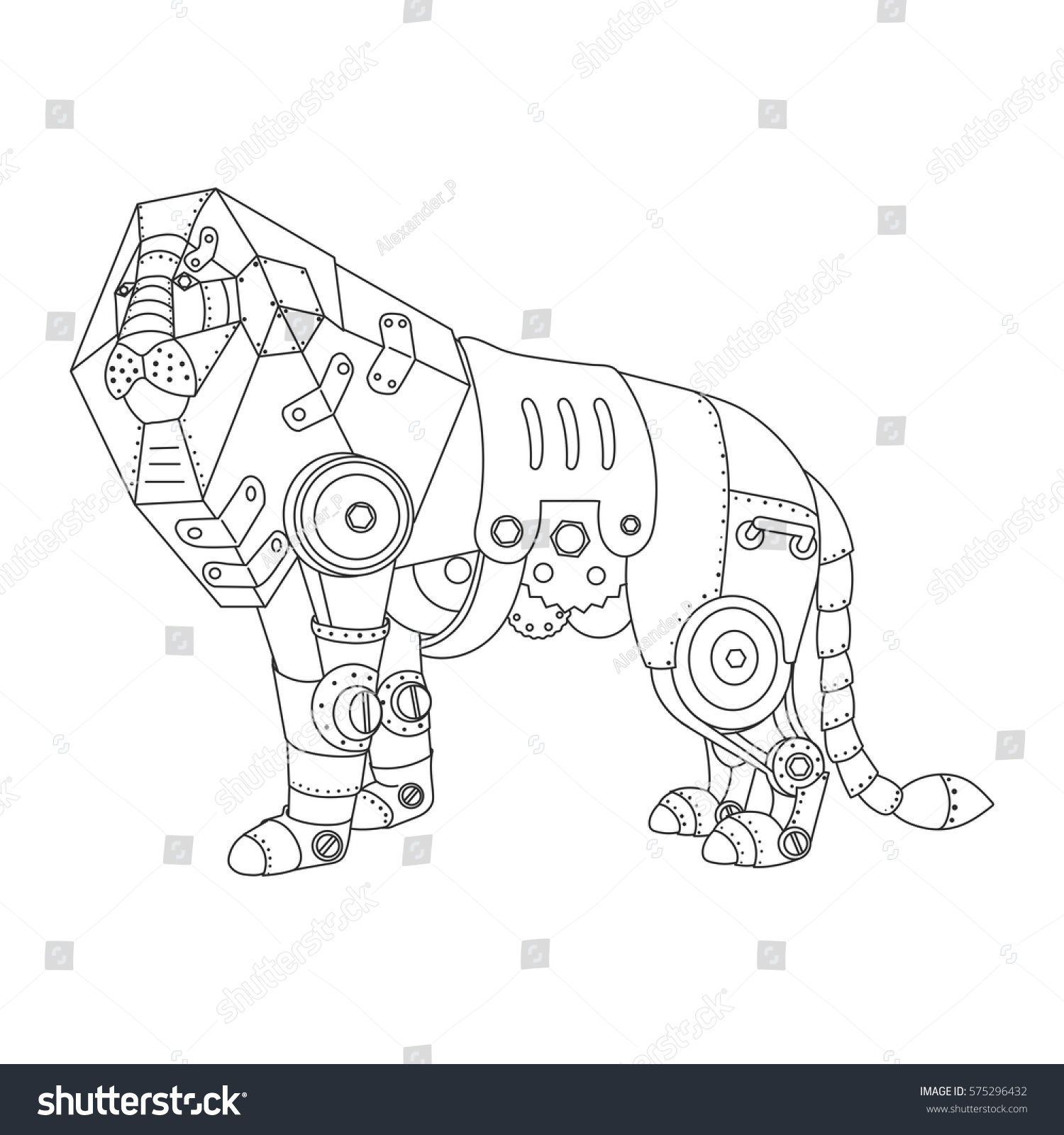 steampunk style lion mechanical animal coloring stock vector