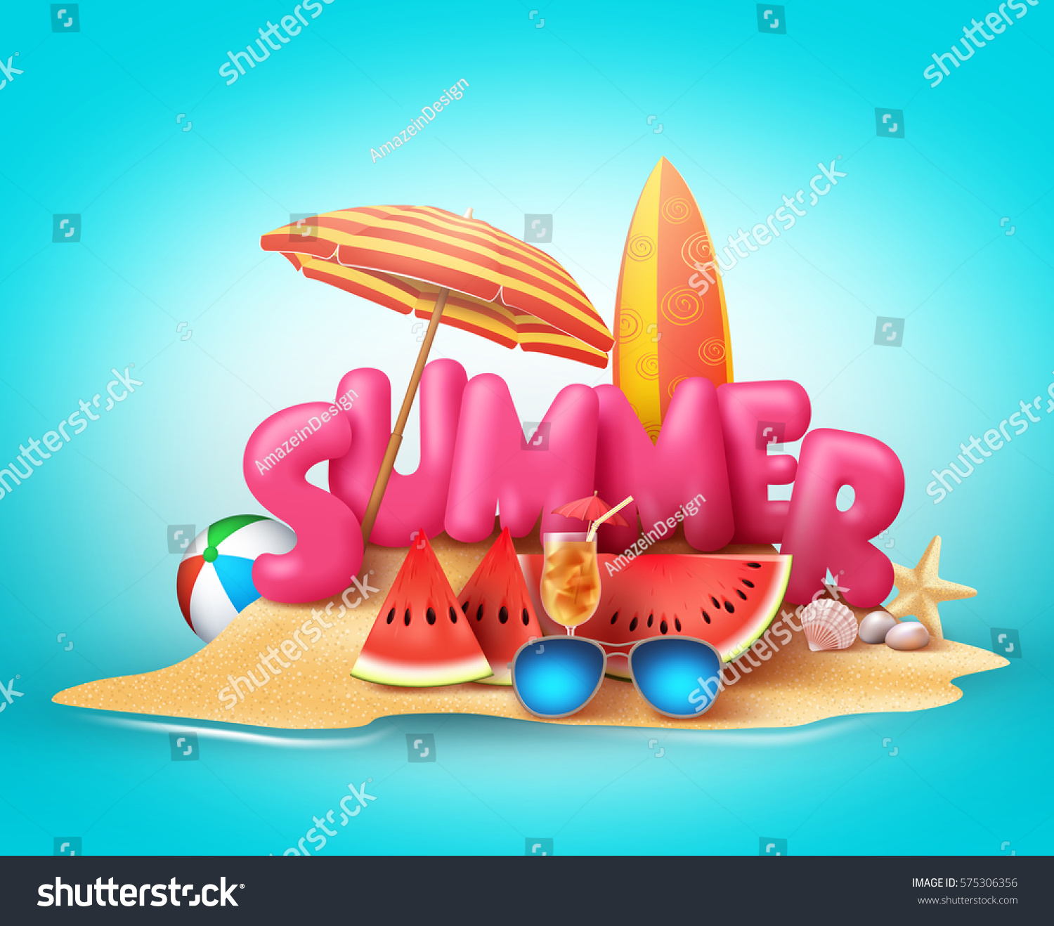 Design vector banner - Summer Beach Vector Banner Design Summer 3d Text In The Sand With Colorful Elements Like