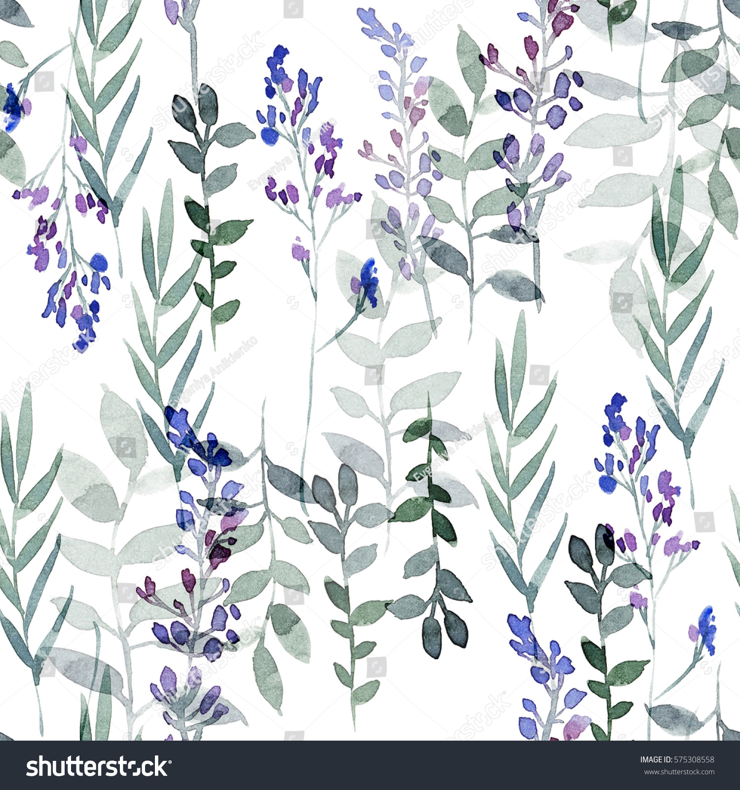 Hand Drawing Seamless Pattern Of Flowers In Blue And Purple Colors Watercolor Illustration