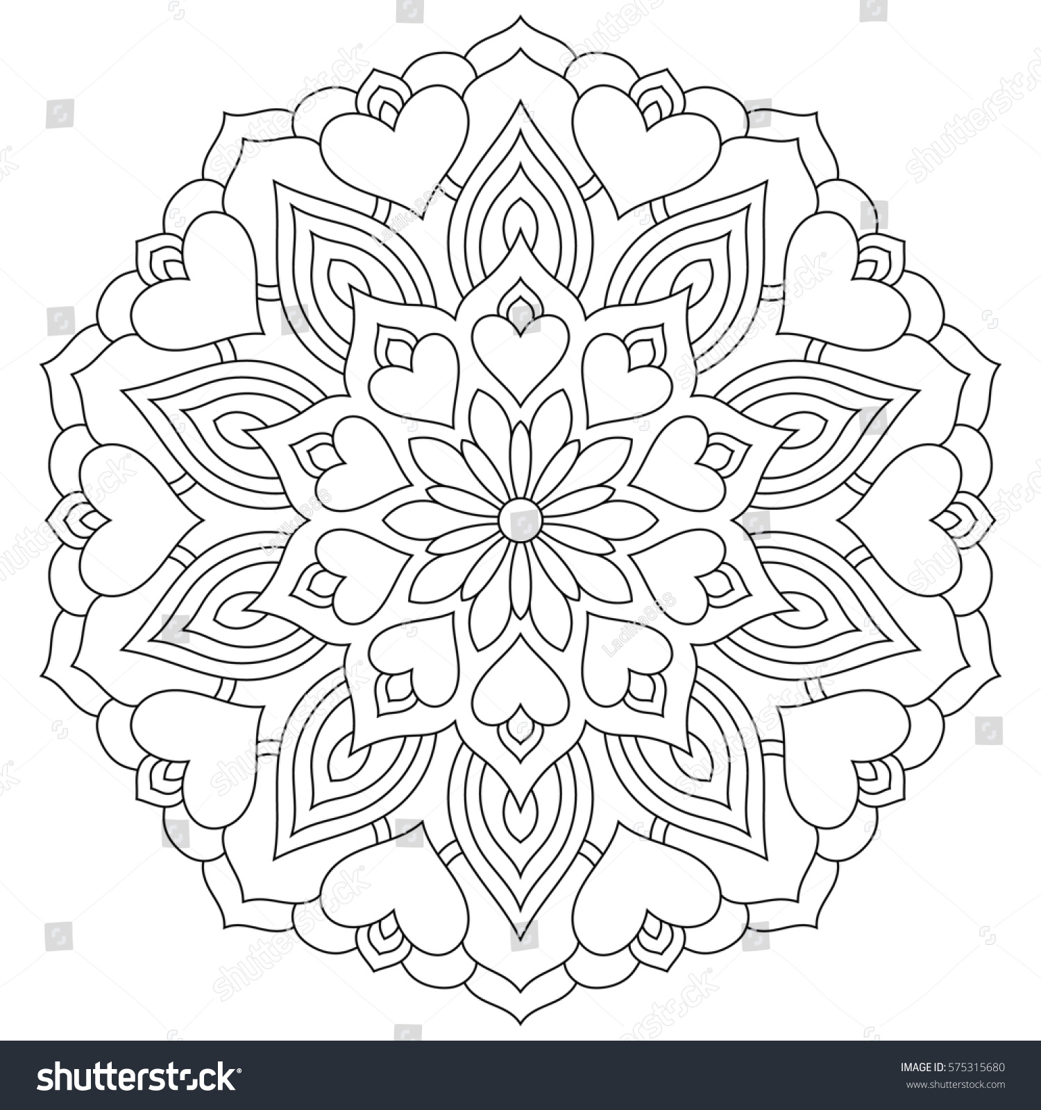 Flower Mandala Hearts Coloring Page Valentines Stock Illustration ...